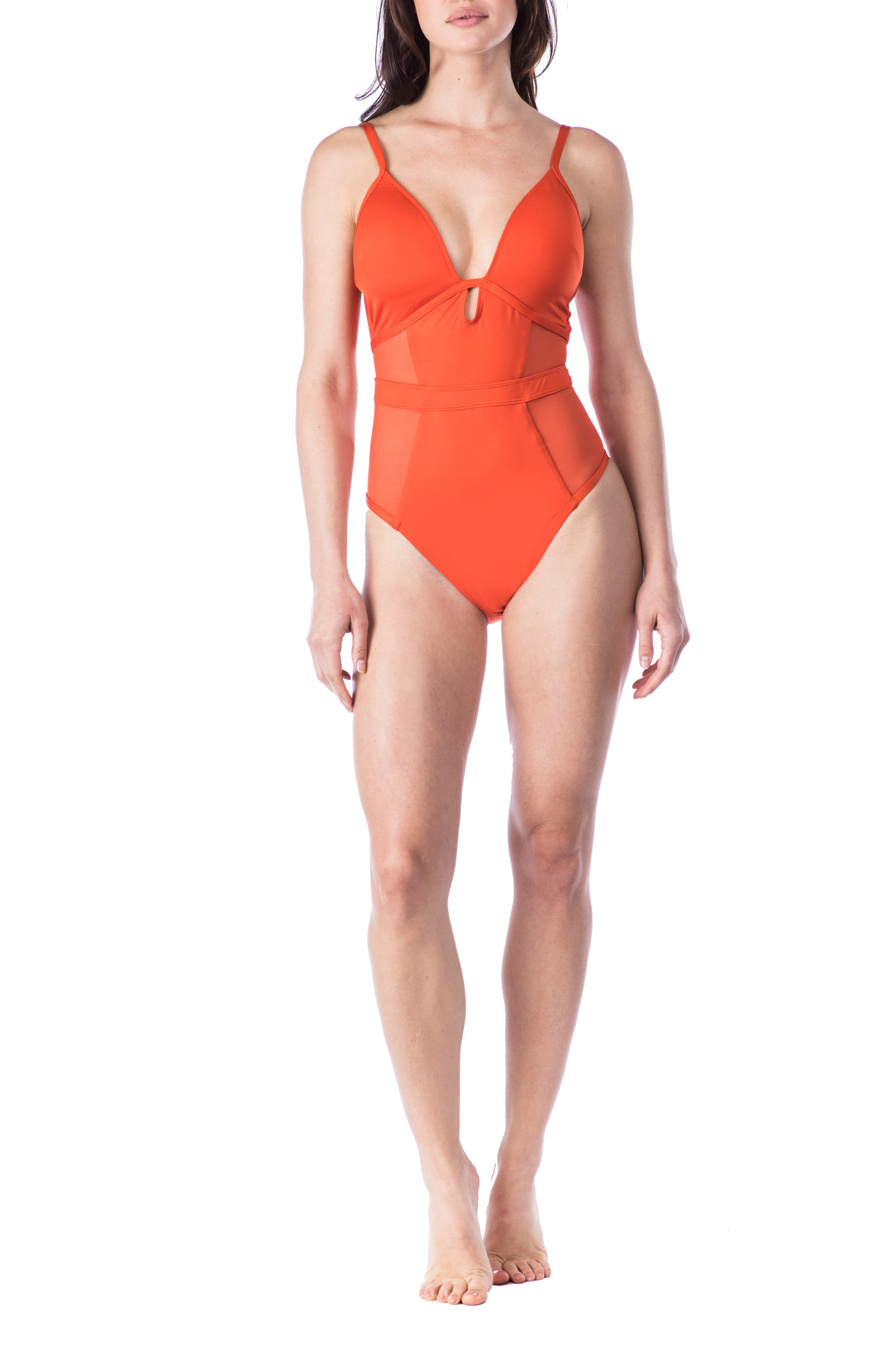 Push-Up One-Piece Swimsuit,                             Alternate thumbnail 3, color,                             Sienna