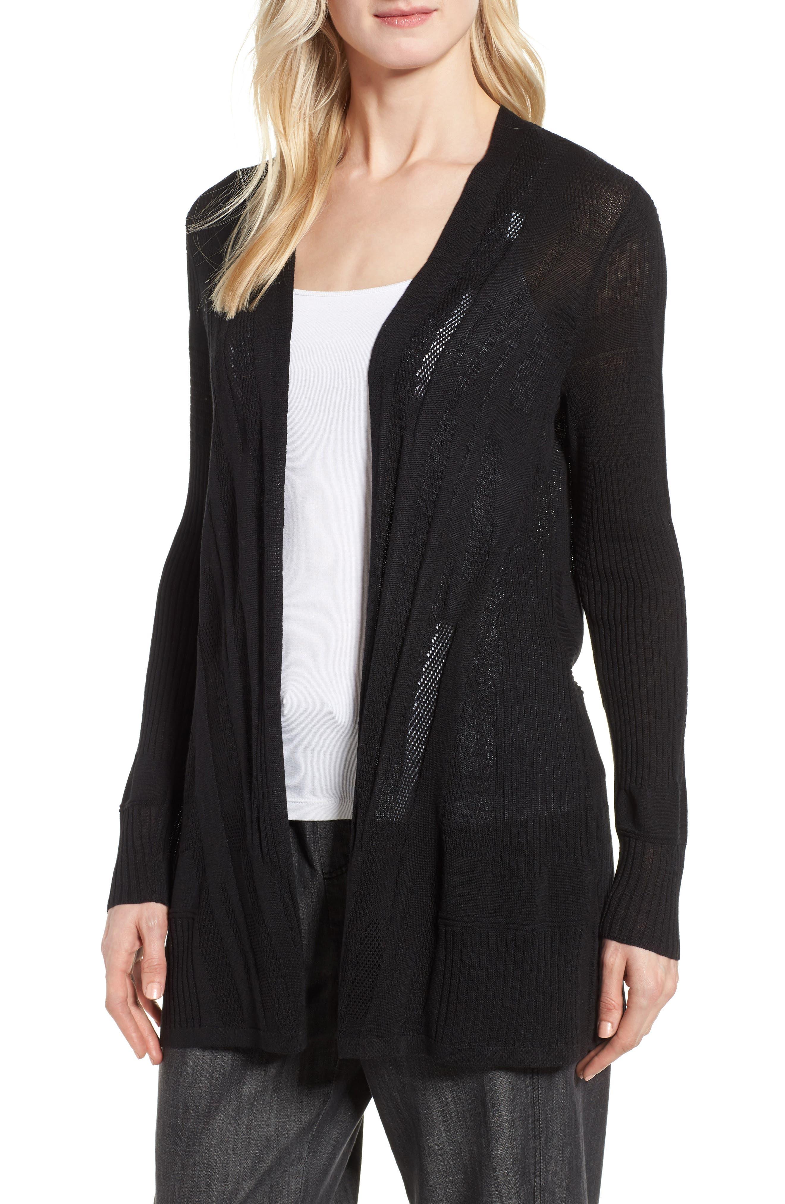 Simple Silk & Organic Linen Cardigan,                             Main thumbnail 1, color,                             Black