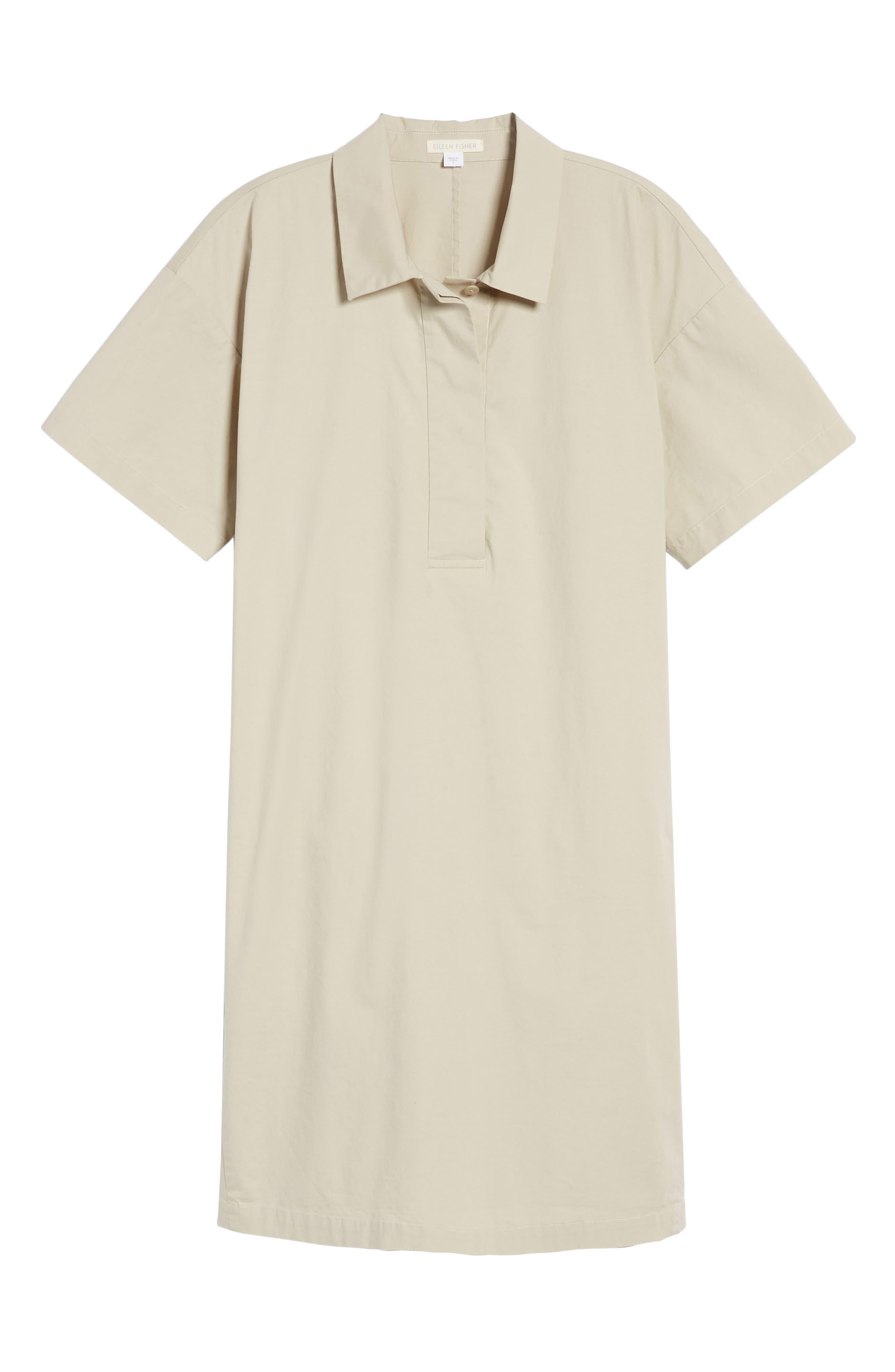 Organic Cotton Poplin Shirtdress,                             Alternate thumbnail 7, color,                             Pebble