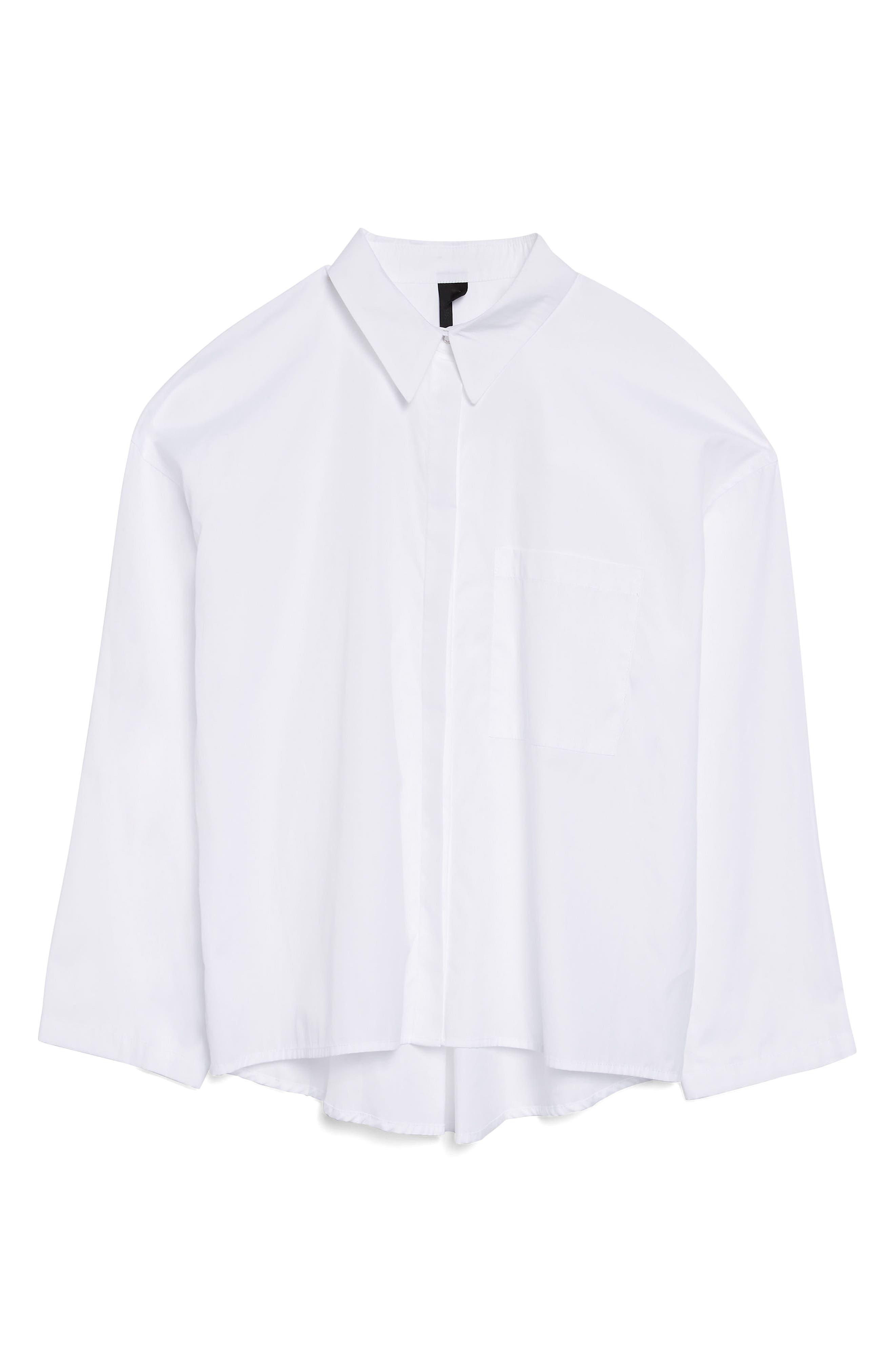 Popper Sleeve Boxy Shirt,                         Main,                         color, White