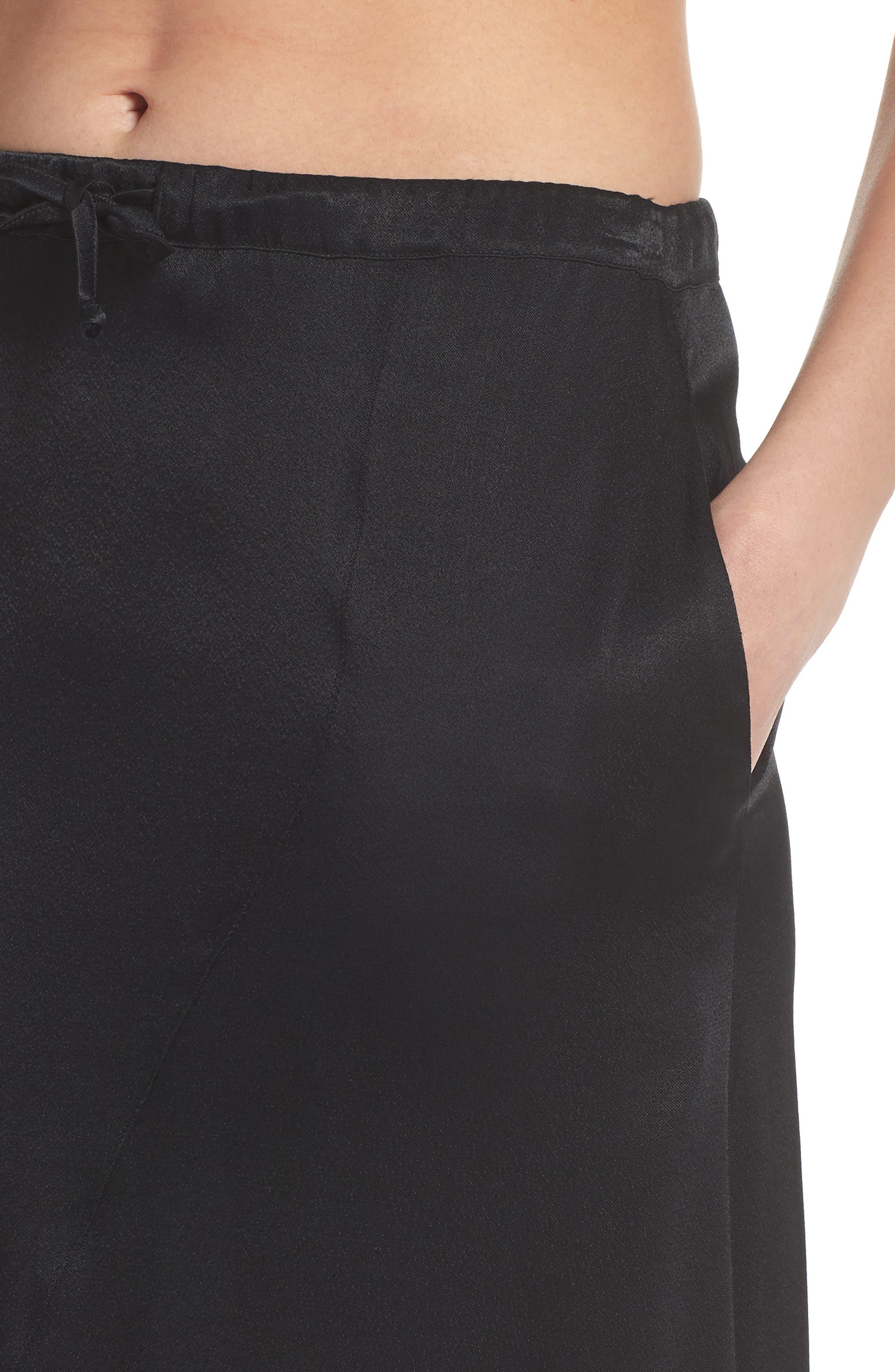 Lace Trim Slip Skirt,                             Alternate thumbnail 5, color,                             Black