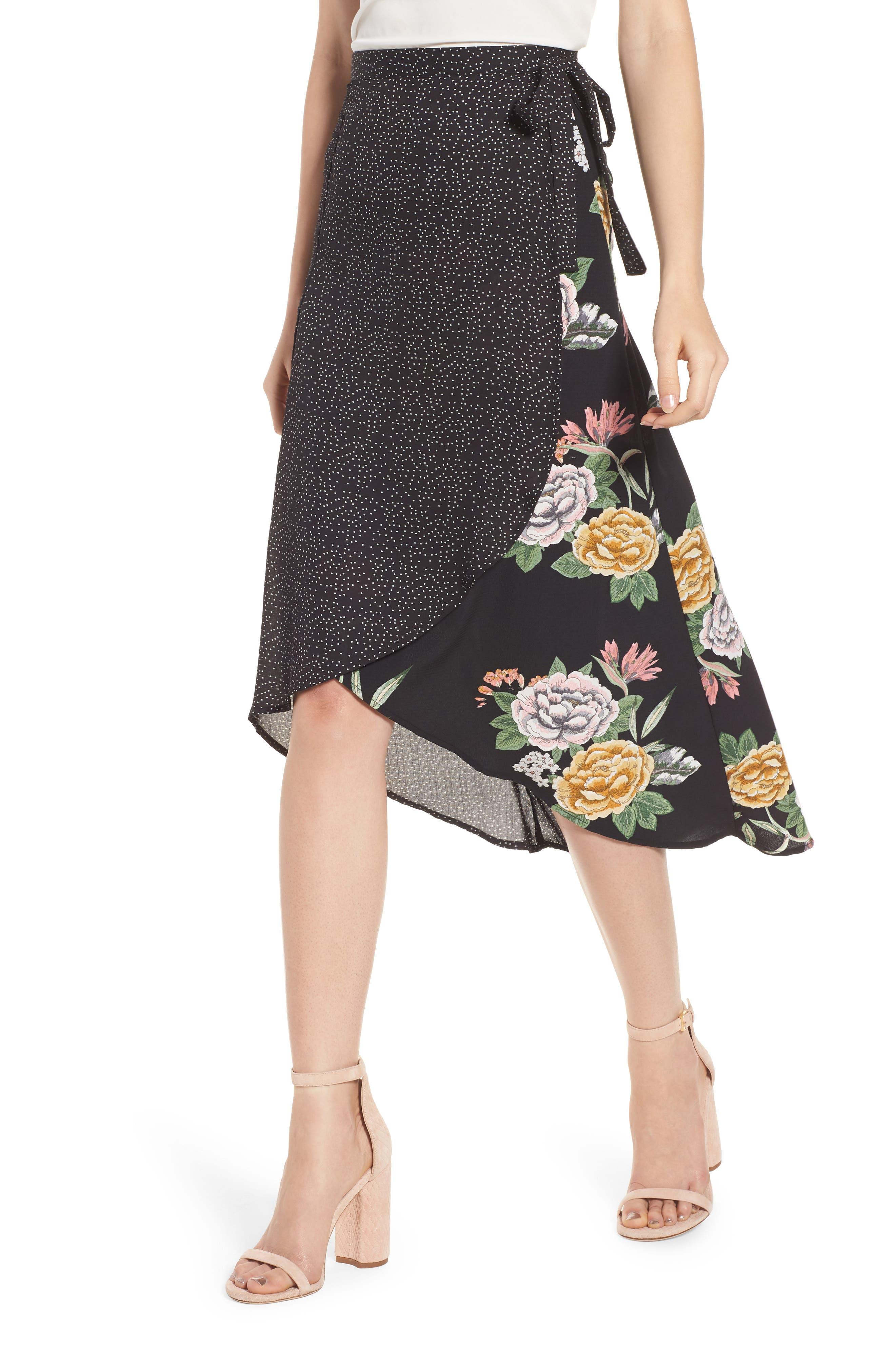 Bishop + Young Enchanted Garden Mix Media Skirt,                             Main thumbnail 1, color,                             Enchanted Garden Print