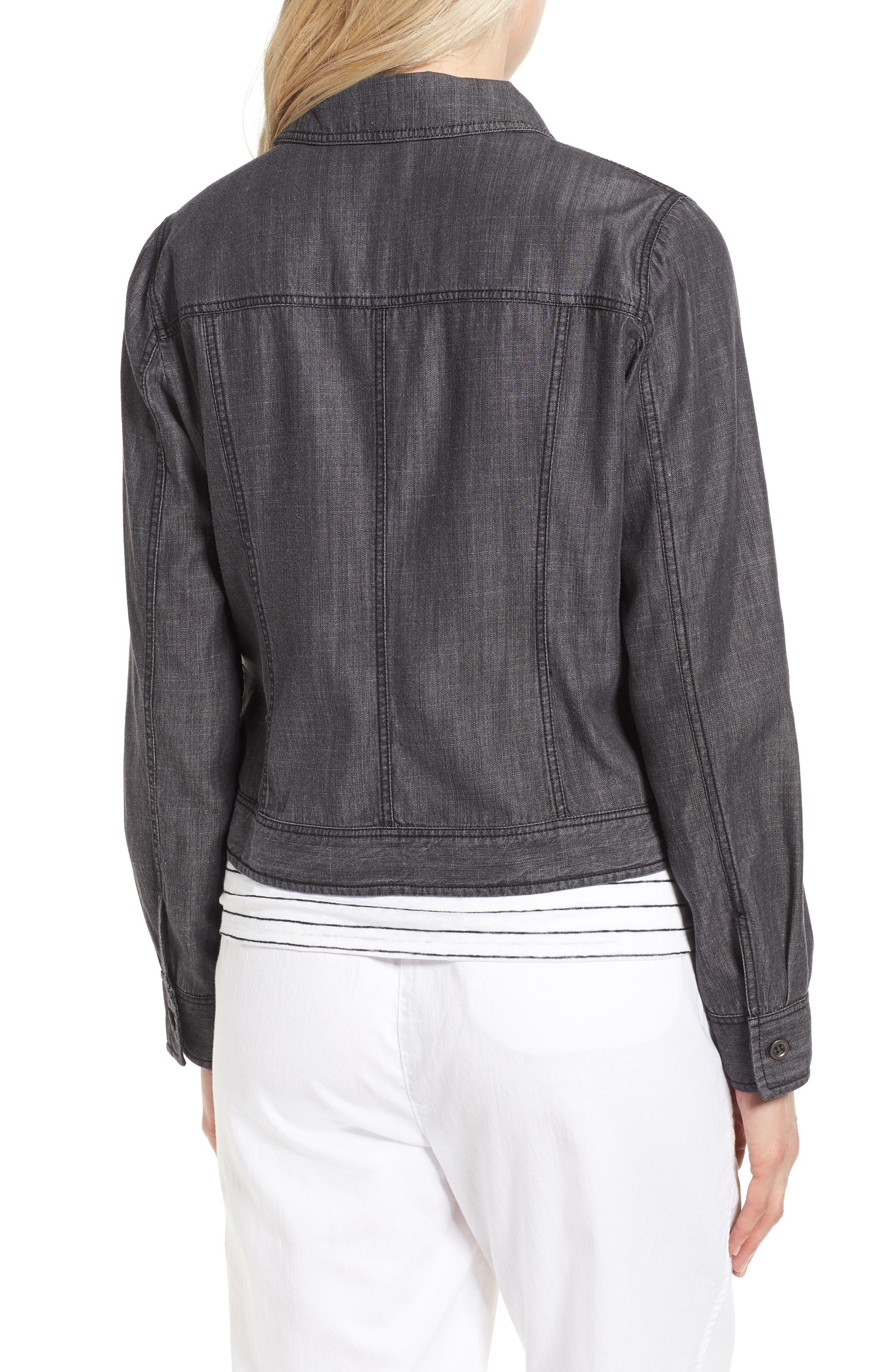 Crop Denim Jacket,                             Alternate thumbnail 2, color,                             Black