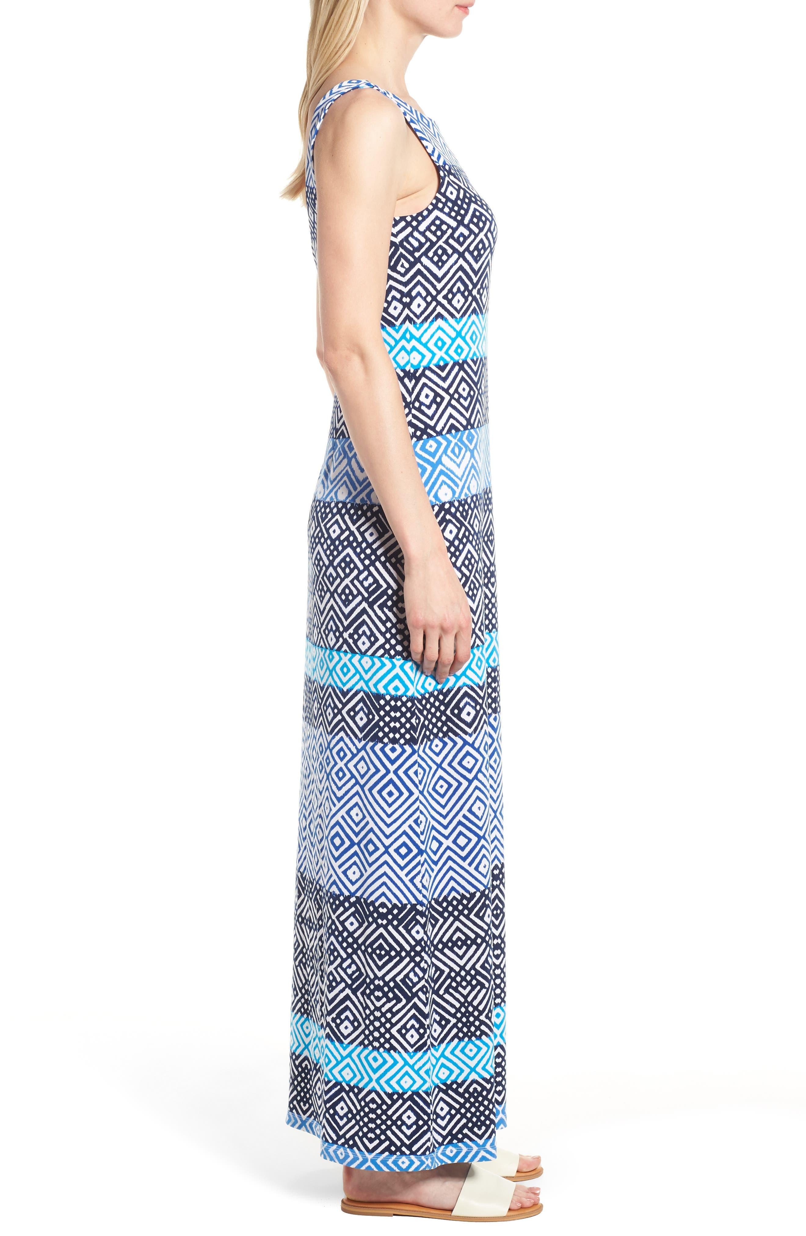 Mayan Maze Maxi Dress,                             Alternate thumbnail 3, color,                             Ocean Deep