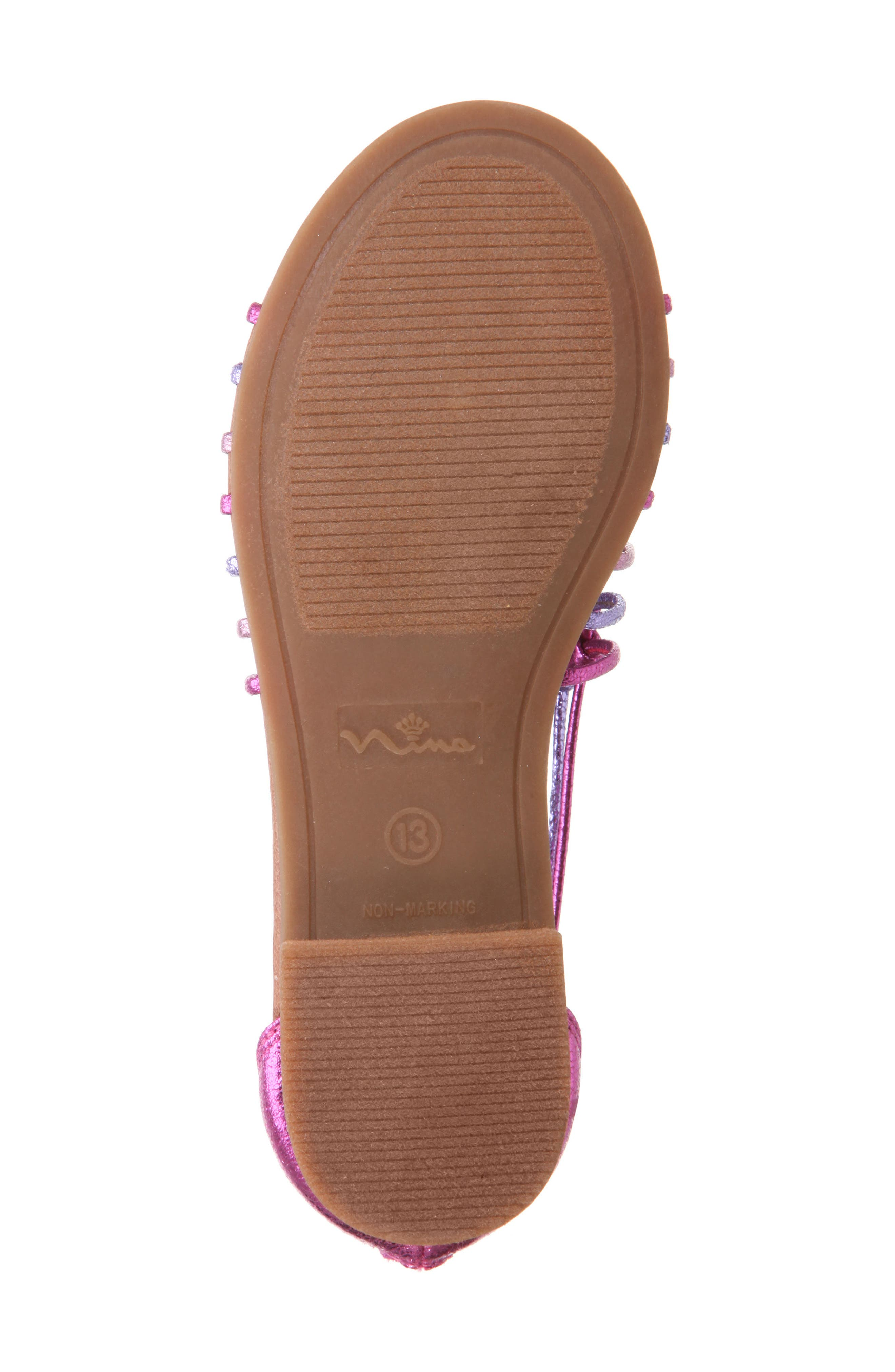 Karlee Embellished Sandal,                             Alternate thumbnail 6, color,                             Pink Multi Metallic Crackle
