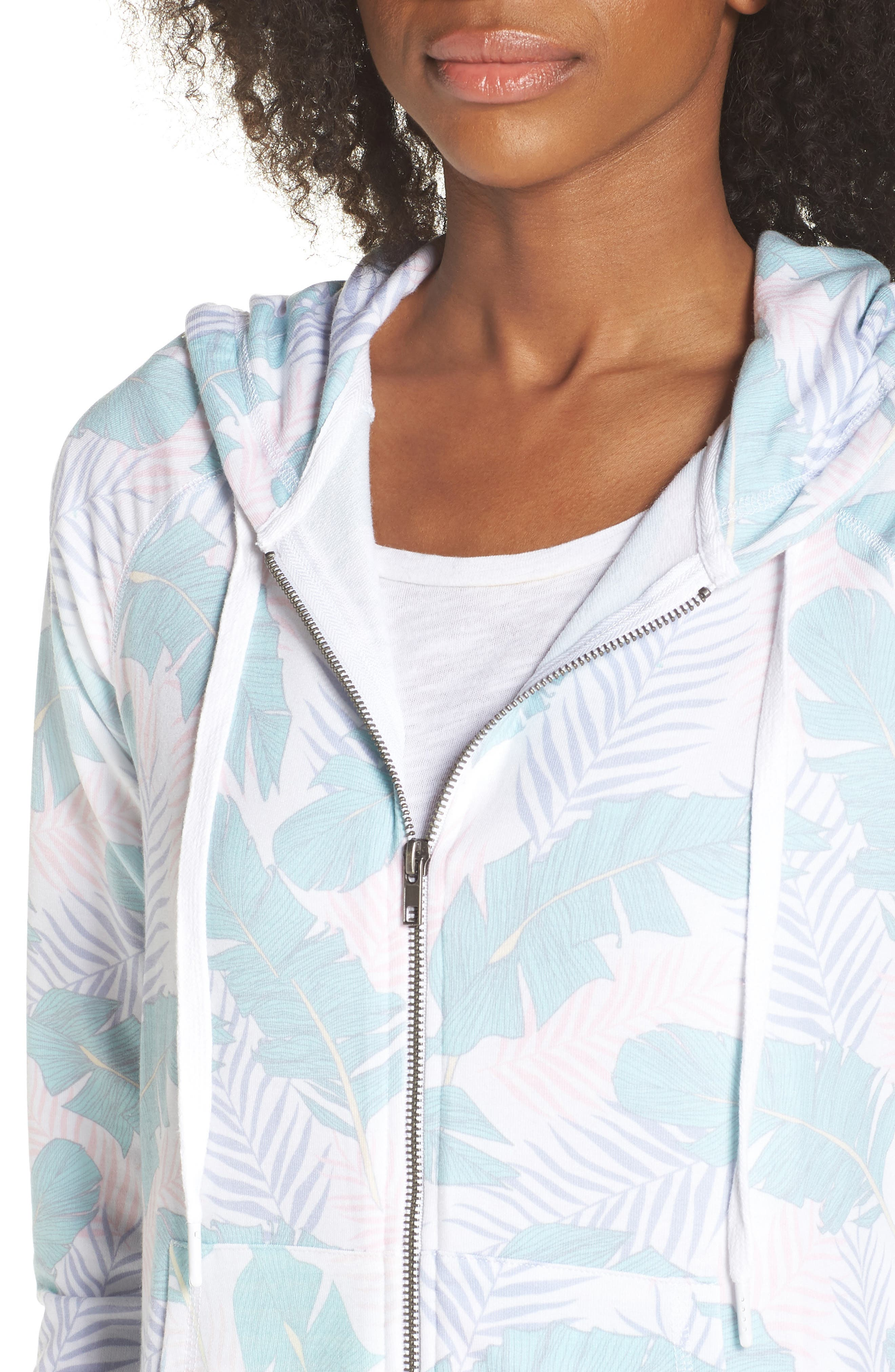 Leaf Print Zip Hoodie,                             Alternate thumbnail 7, color,                             White