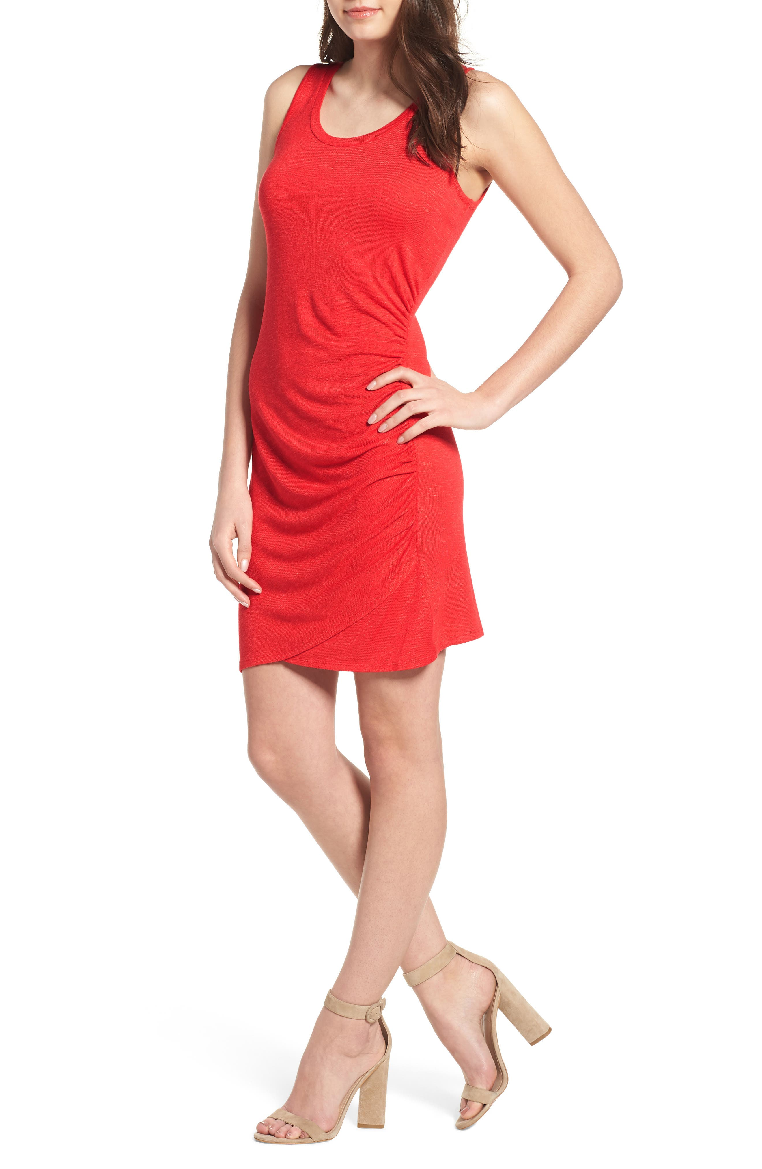 Ruched Minidress,                         Main,                         color, Red