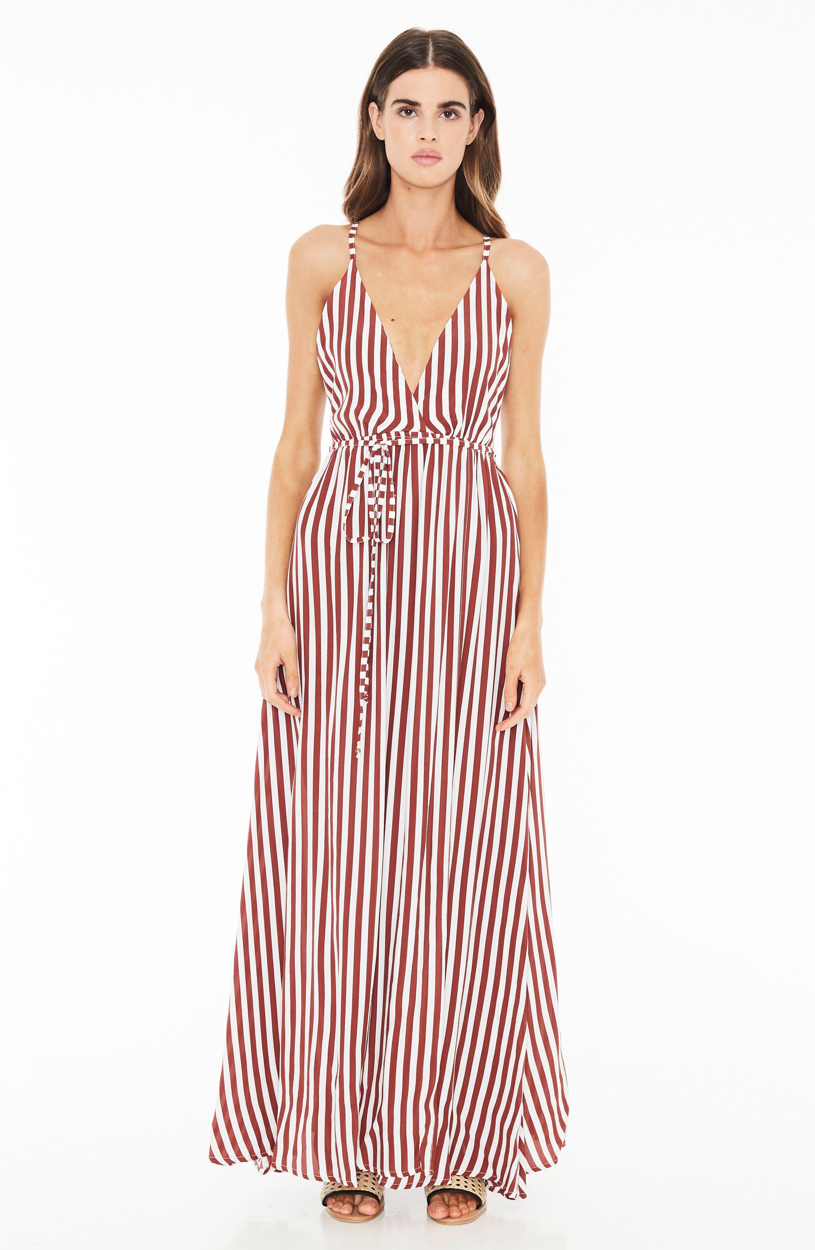 Santa Rosa Maxi Dress,                             Alternate thumbnail 4, color,                             Zeus Stripe Prints - Maroon