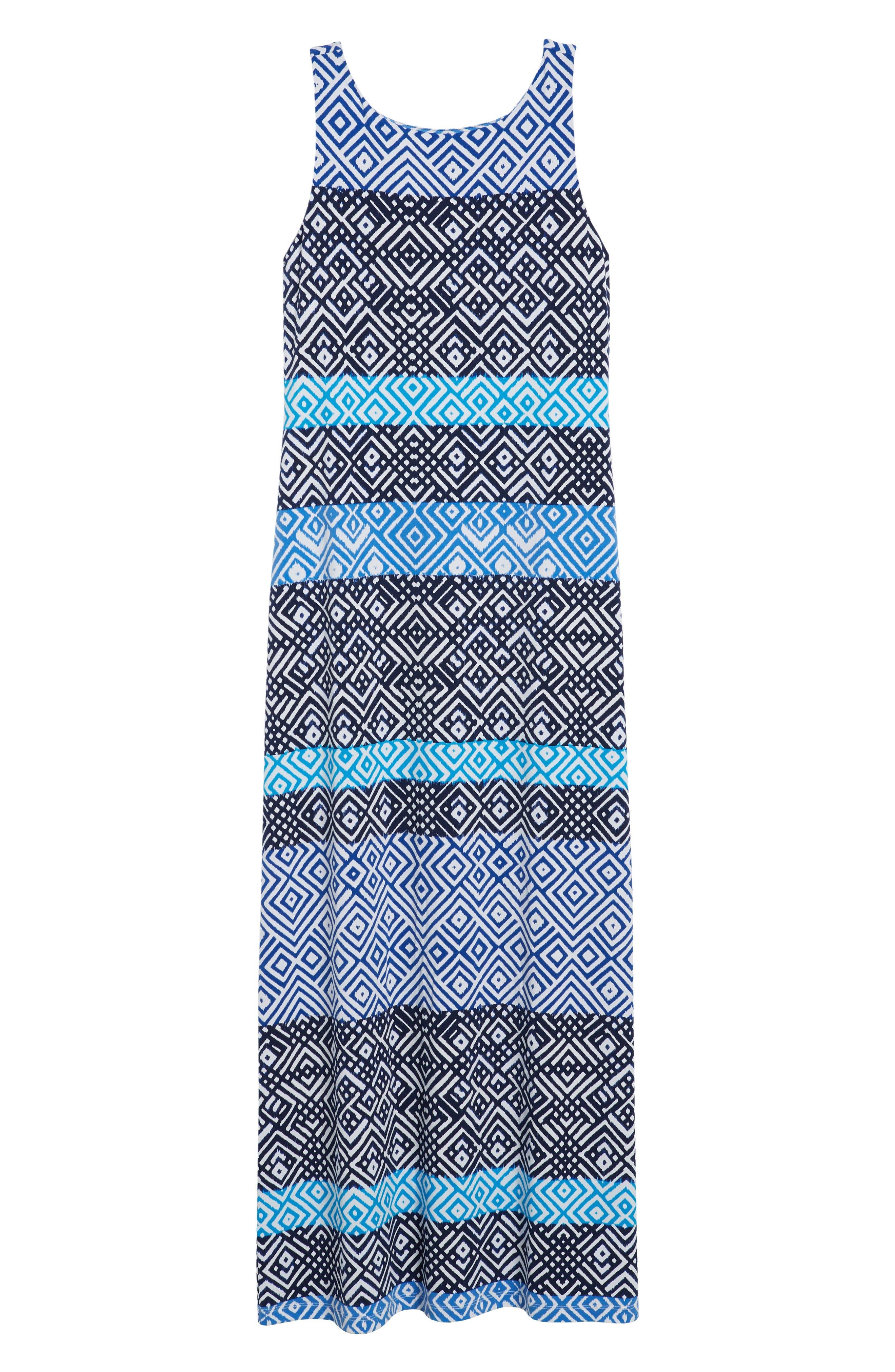 Mayan Maze Maxi Dress,                             Alternate thumbnail 7, color,                             Ocean Deep