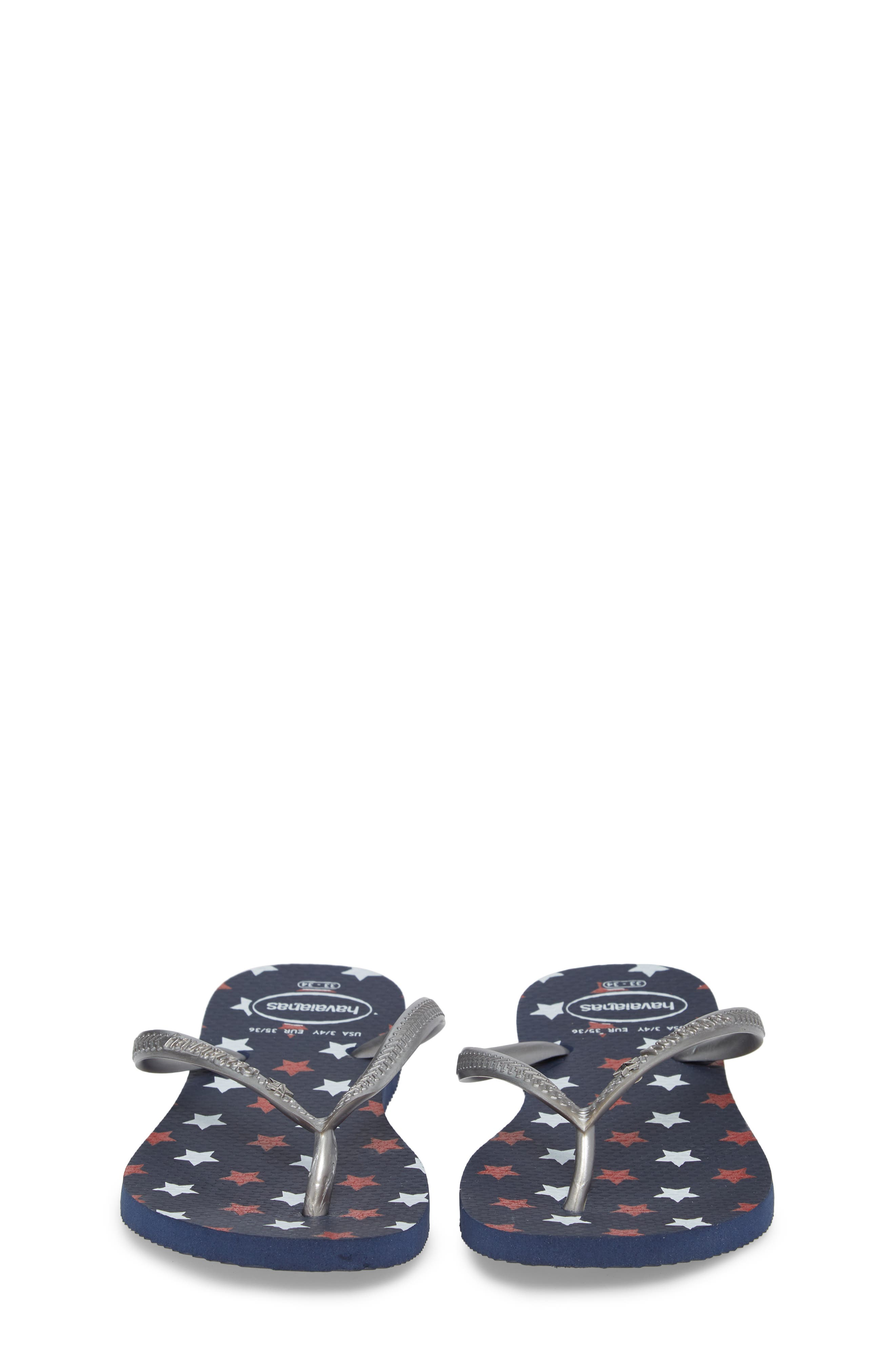 Havianas Slim Stars Glitter Flip Flop,                             Alternate thumbnail 4, color,                             Navy Blue