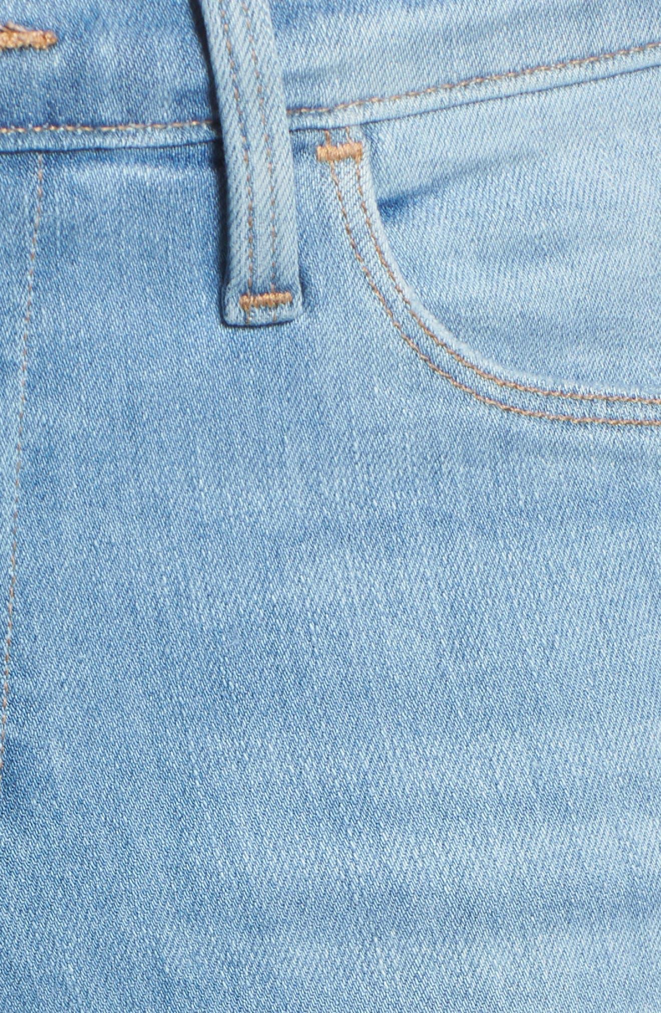 Le High Shredded Hem Skinny Jeans,                             Alternate thumbnail 6, color,                             Eling
