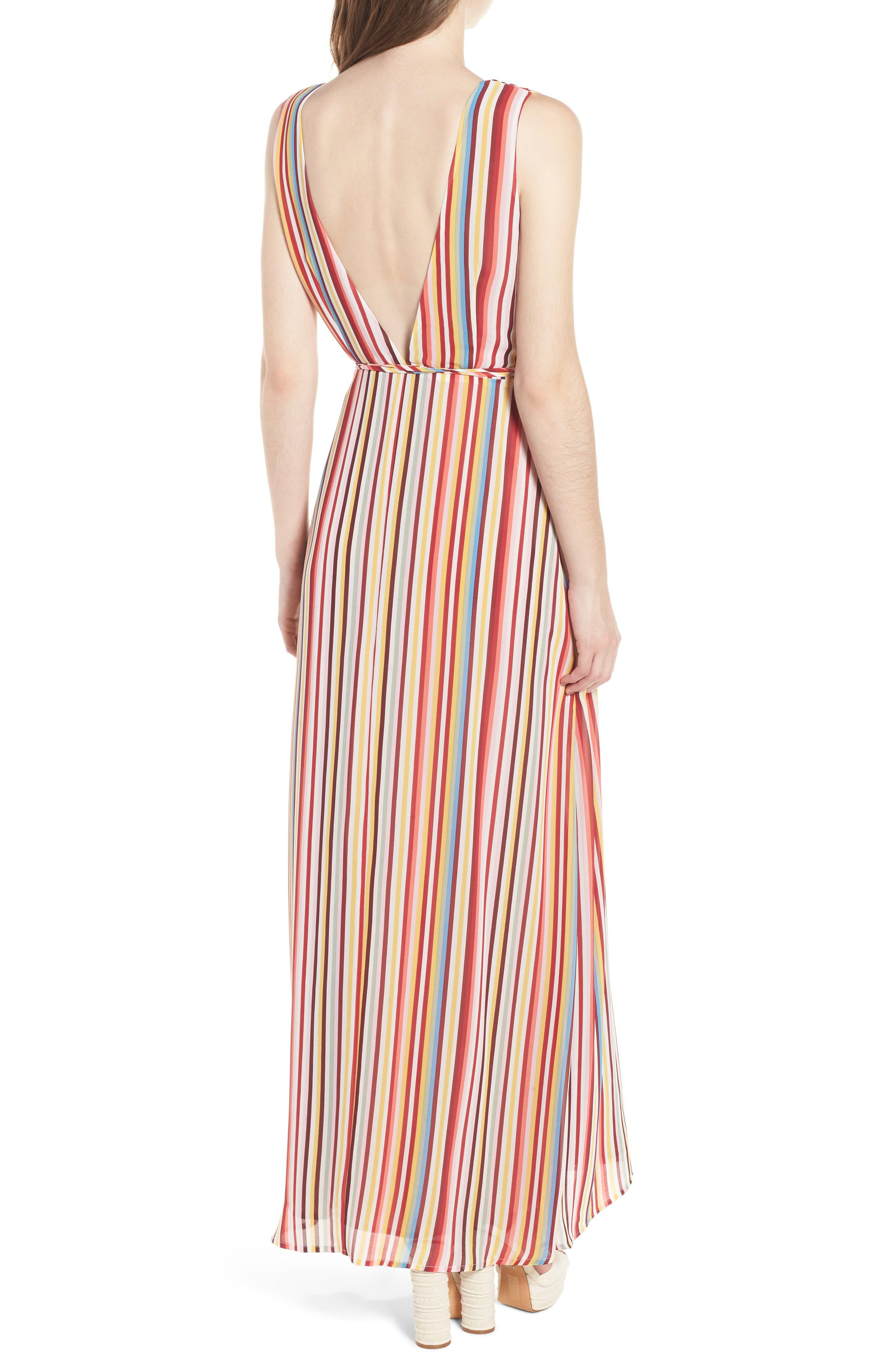 Bobby Wrap Maxi Dress,                             Alternate thumbnail 2, color,                             Red Multi Stripe