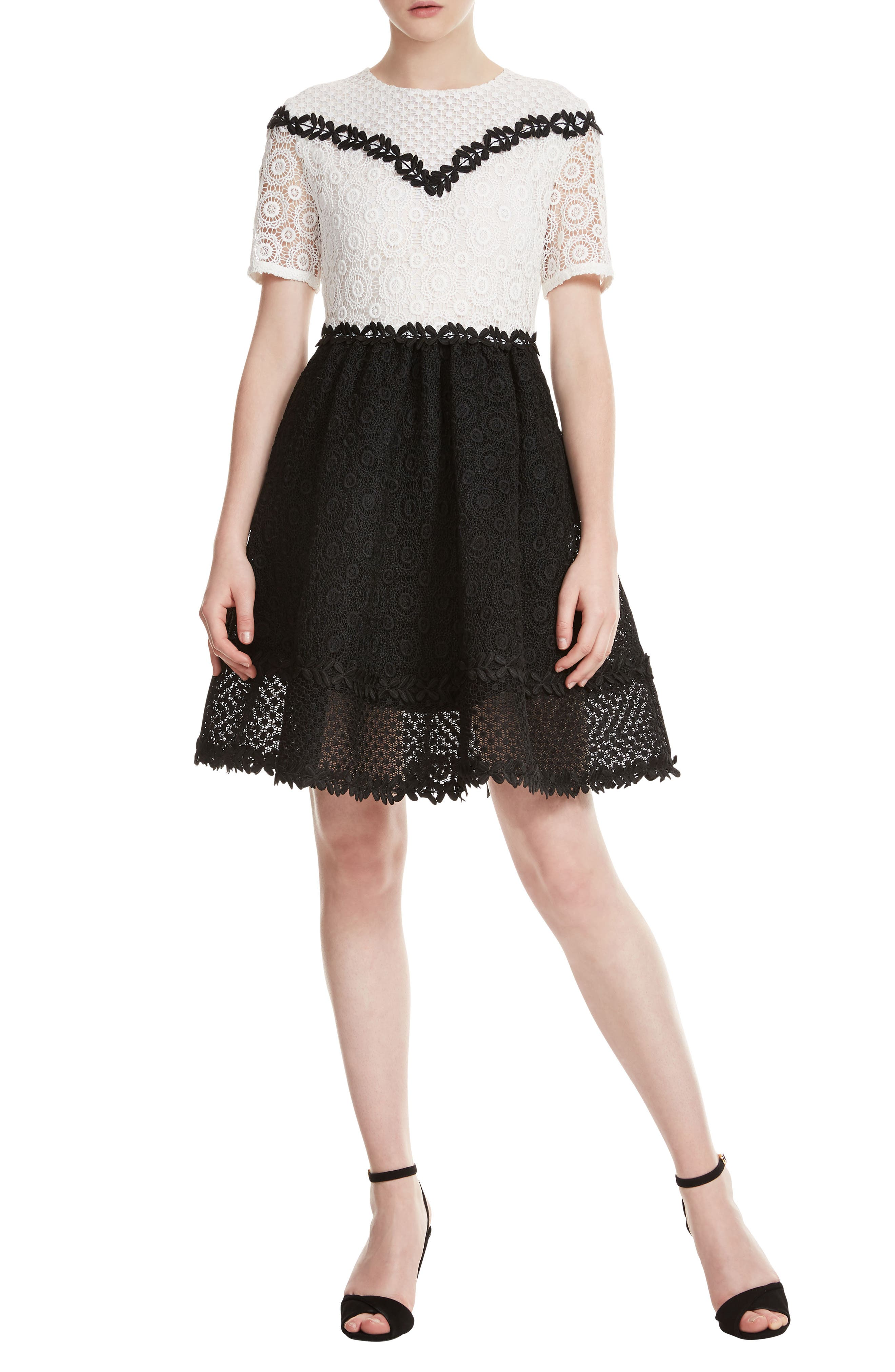 maje Fit & Flare Lace Dress