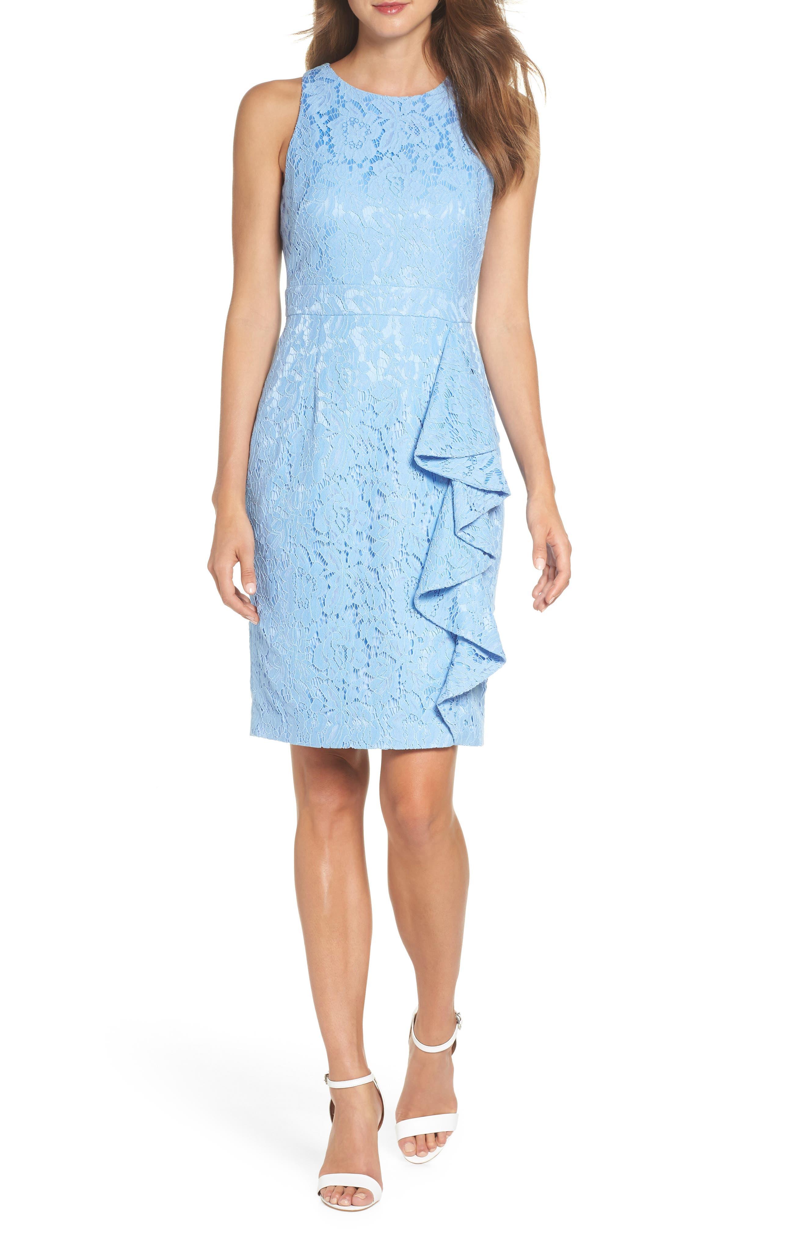 Sleeveless Ruffle Lace Sheath Dress,                         Main,                         color, Blue