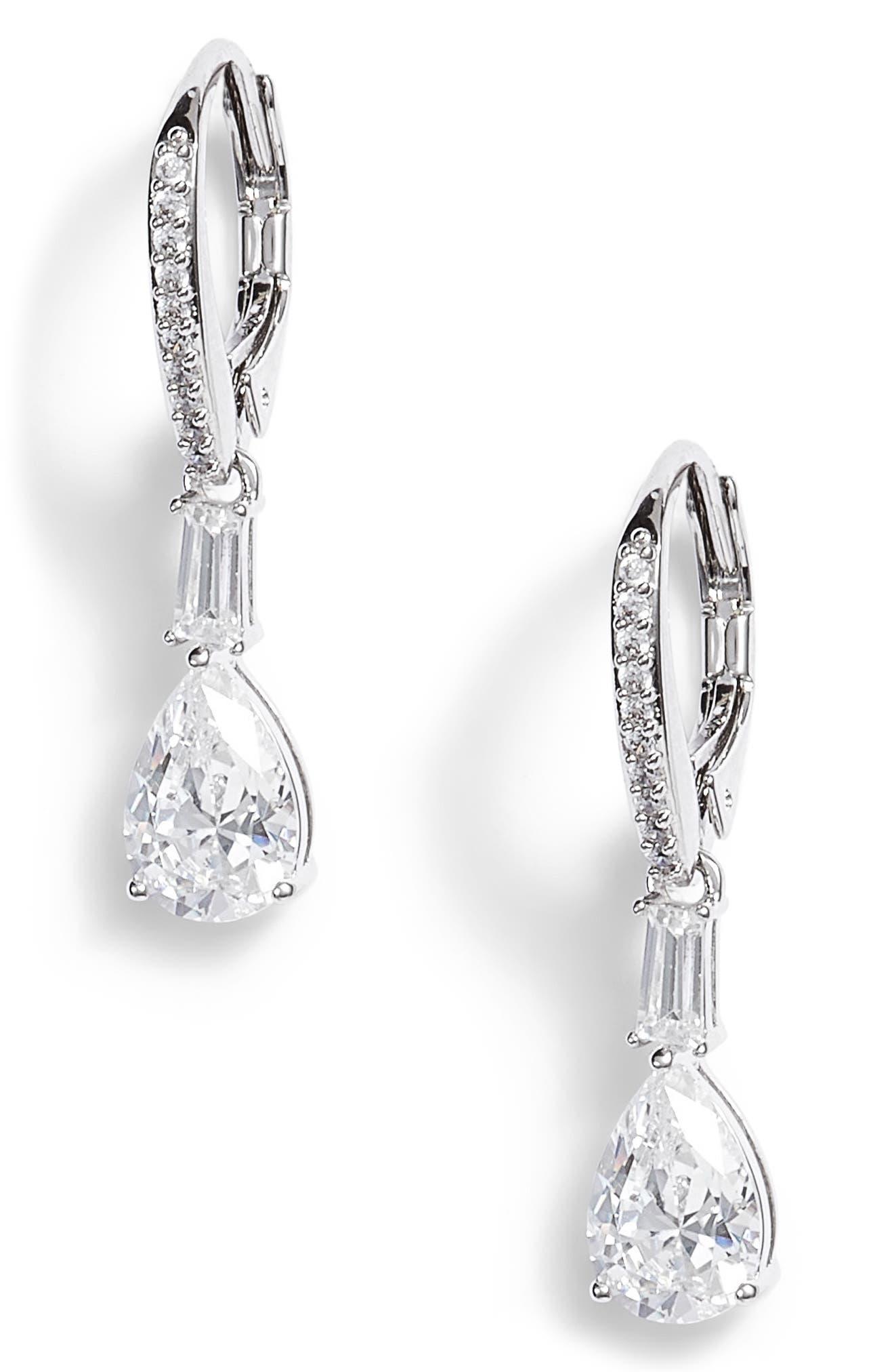 Fanfare Cubic Zirconia Drop Earrings,                             Main thumbnail 1, color,                             Silver