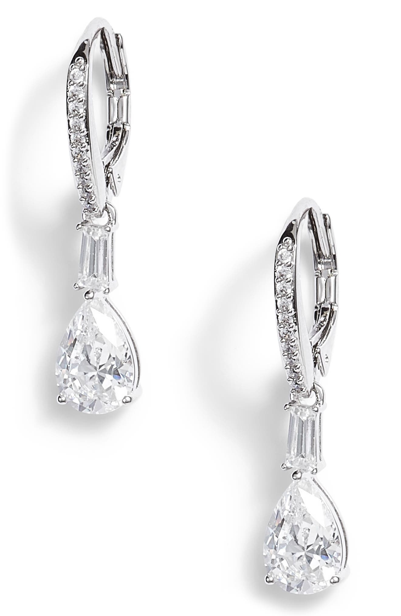 Fanfare Cubic Zirconia Drop Earrings,                         Main,                         color, Silver