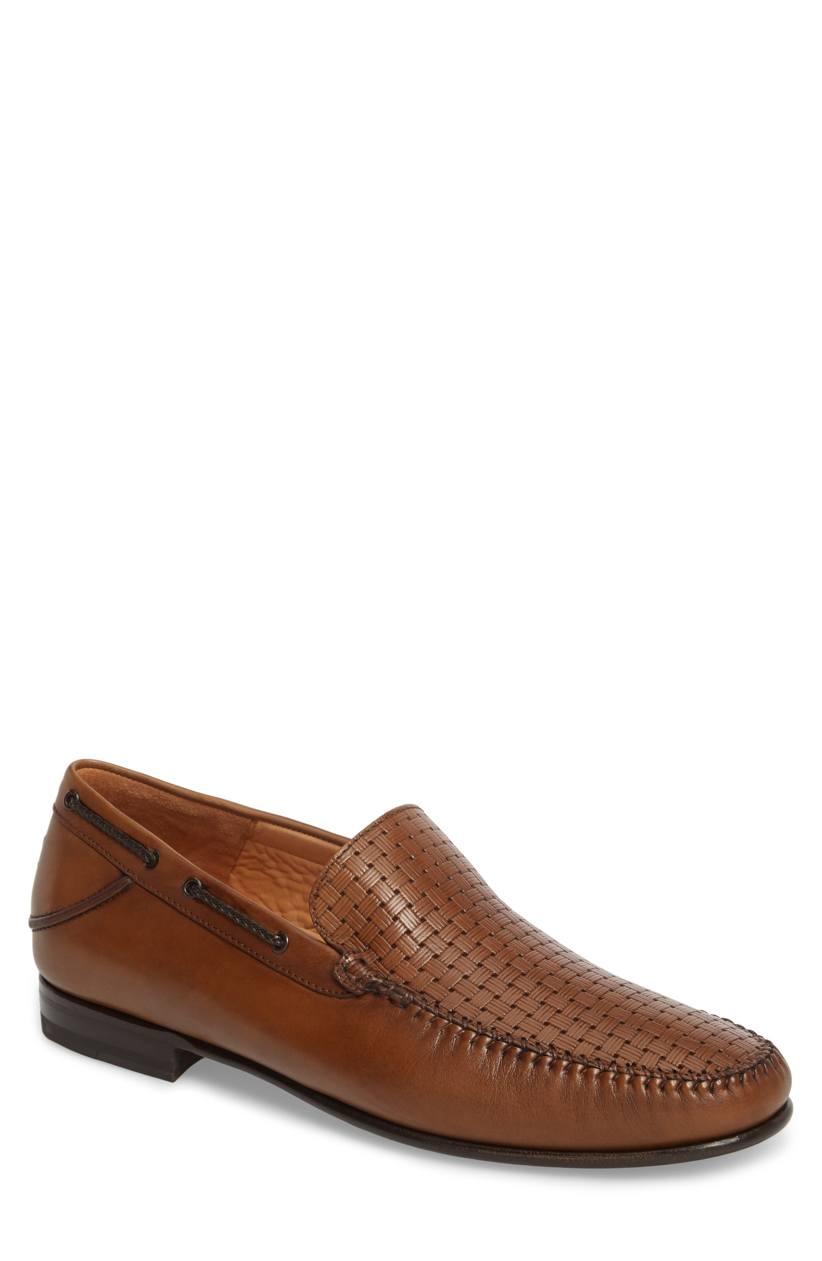 Jano Embossed Moc-Toe Loafer,                             Main thumbnail 1, color,                             Cognac Leather
