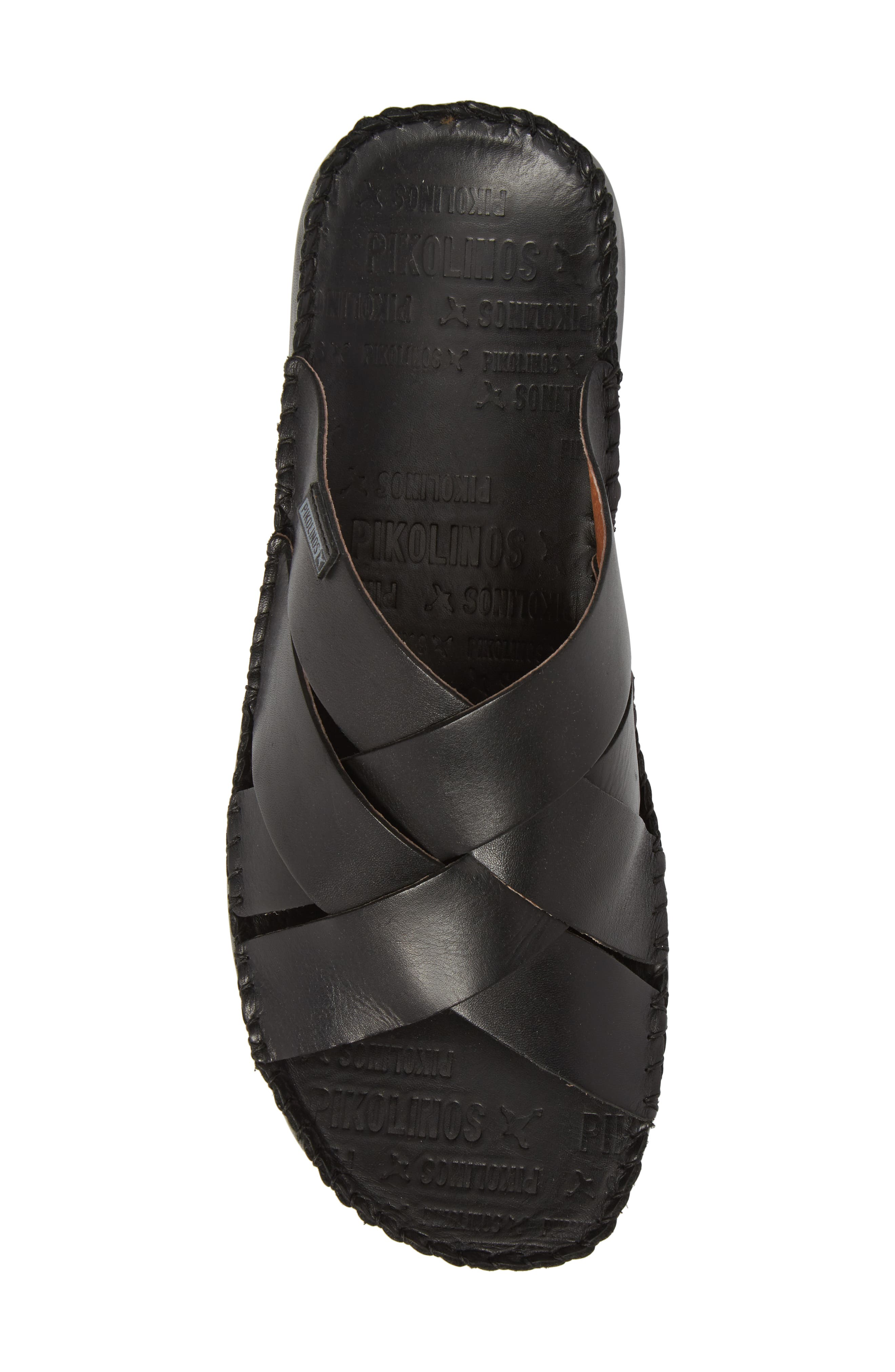 'Tarifa' Slide Sandal,                             Alternate thumbnail 5, color,                             Black Leather