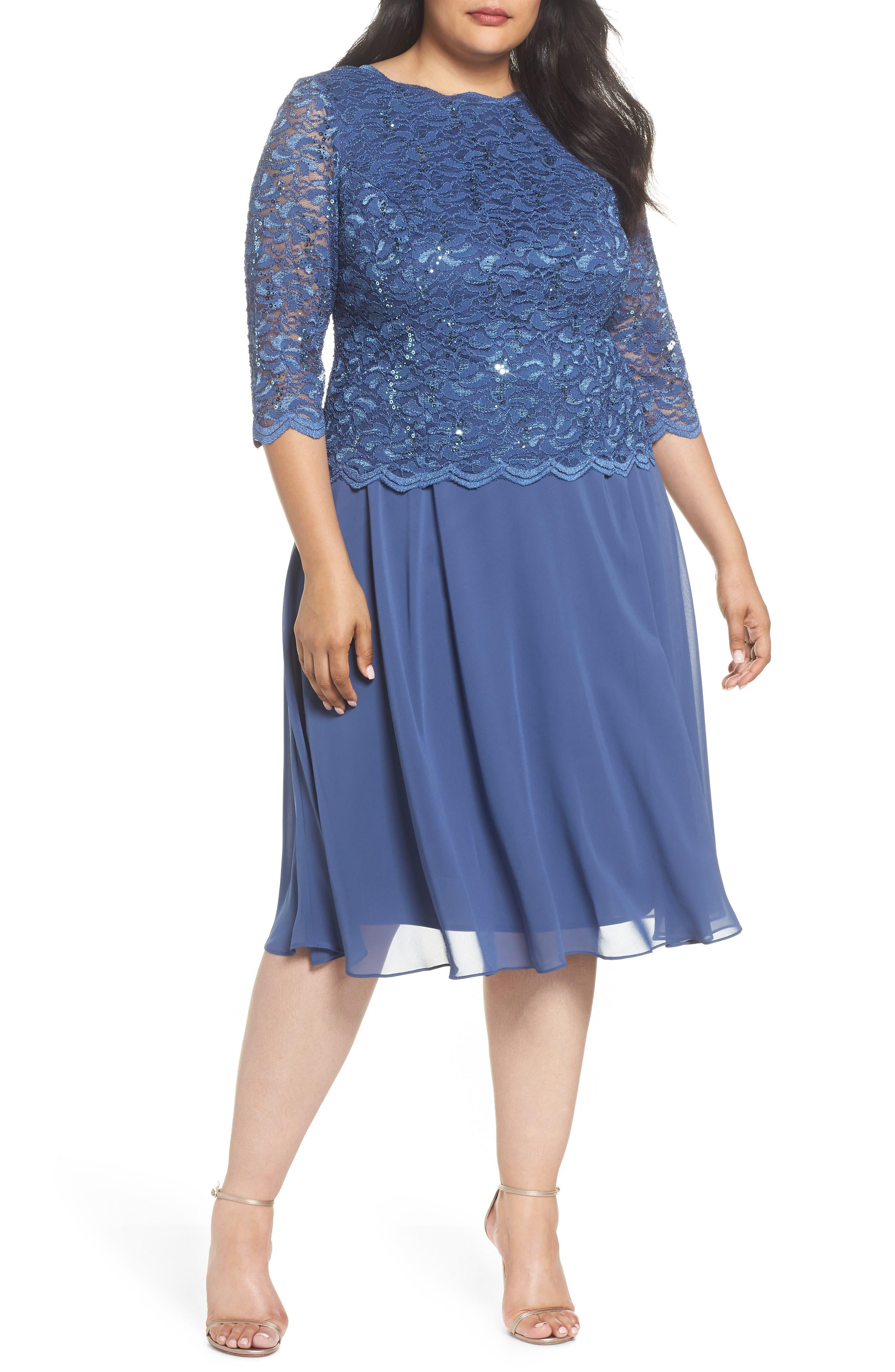 Mock Two-Piece Tea Length Dress,                         Main,                         color, Wedgewood
