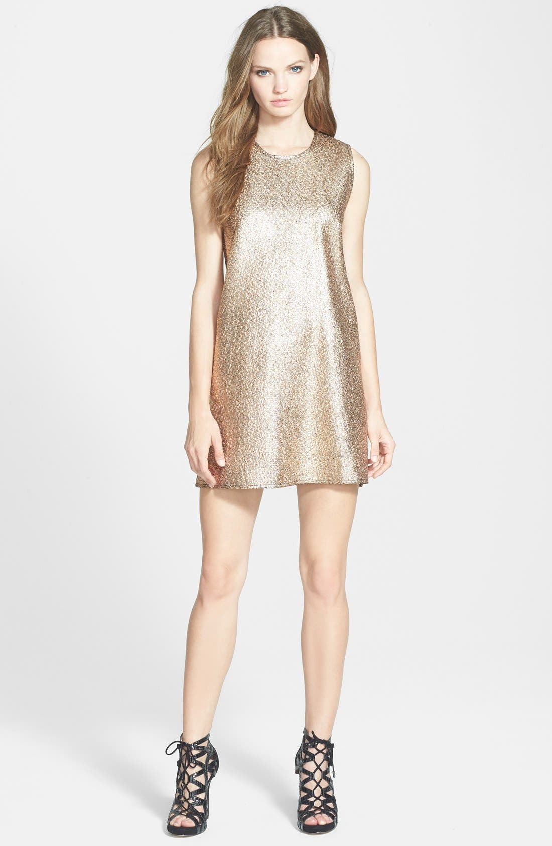 'Butterfly Ginger' Shift Dress,                             Main thumbnail 1, color,                             Metalic Gold
