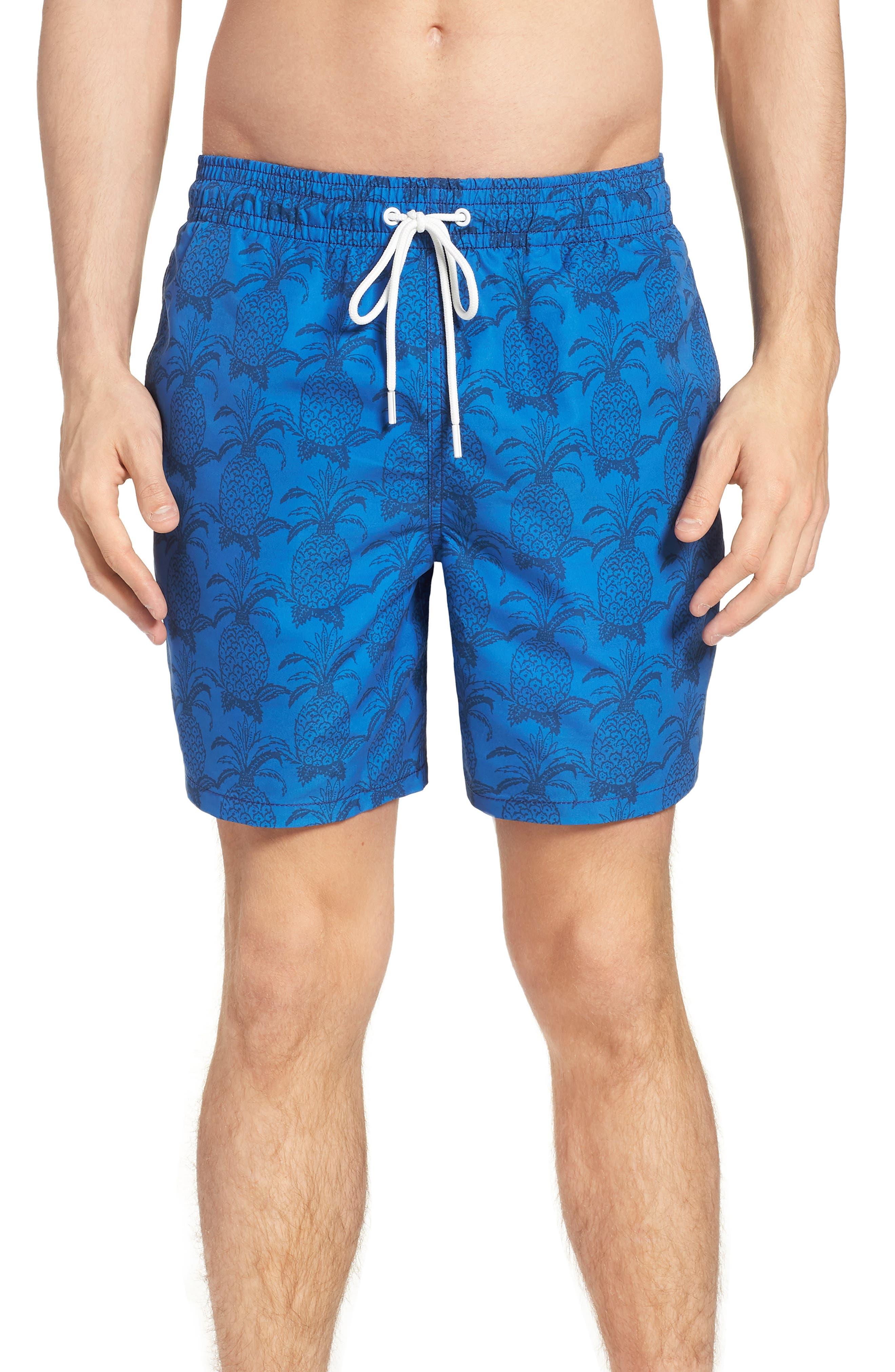 Castle Cliff Regular Fit Print Swim Trunks,                         Main,                         color, Pacific