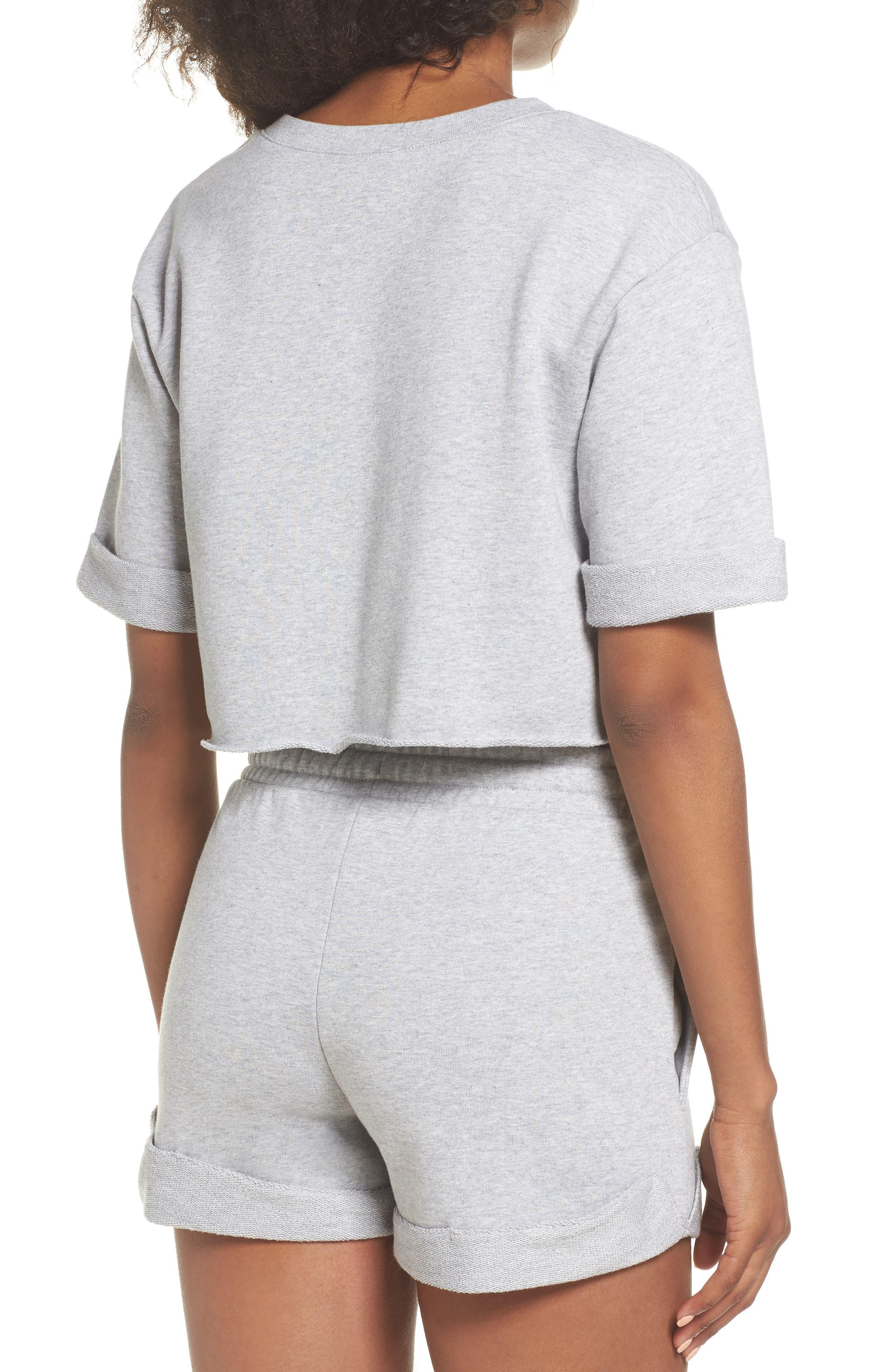 French Terry Crop Sweatshirt,                             Alternate thumbnail 2, color,                             Light Grey Marl