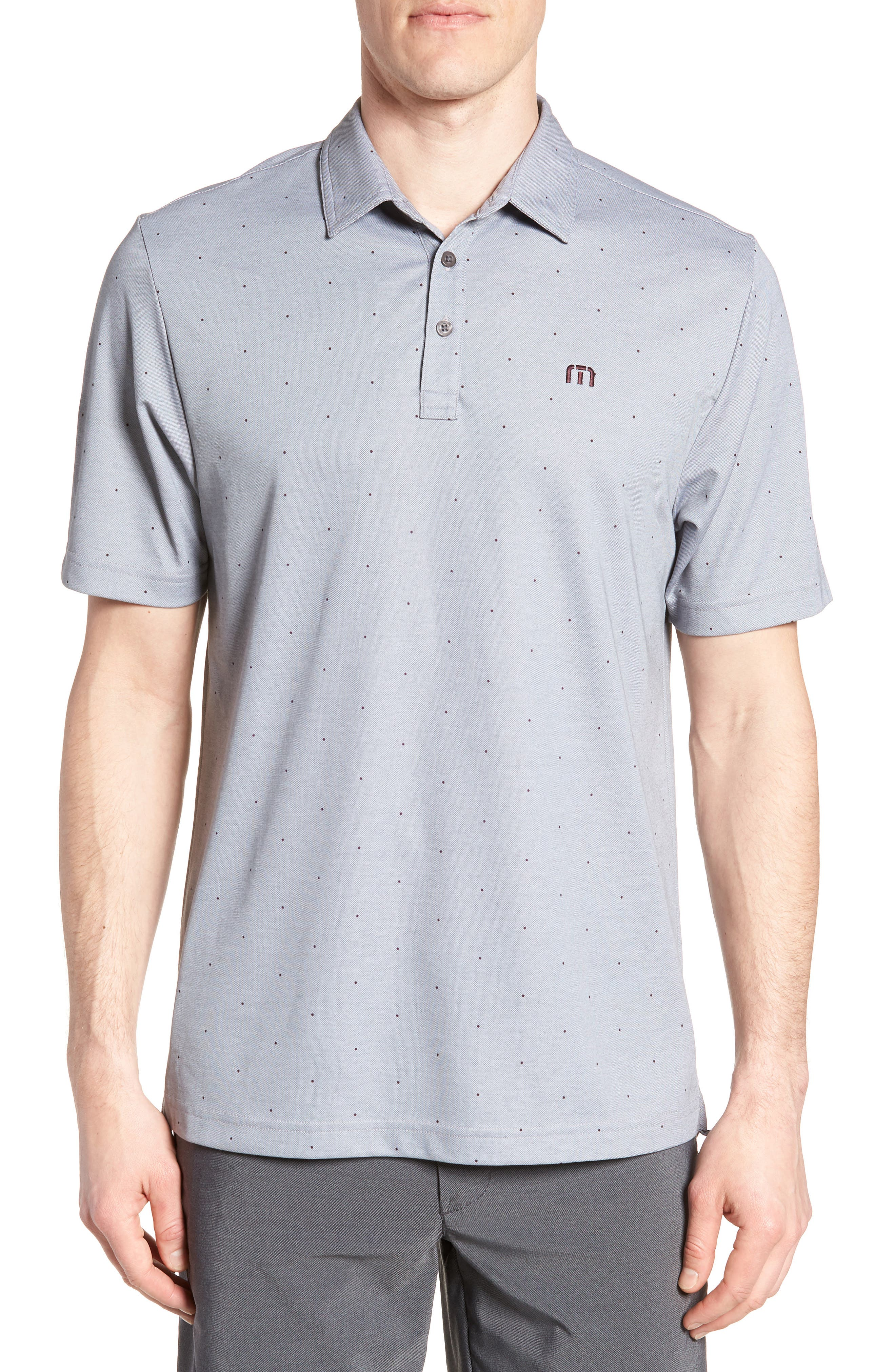 'JJ's Legacy' Trim Fit Polka Dot Polo,                             Main thumbnail 1, color,                             Heather Quiet Shade