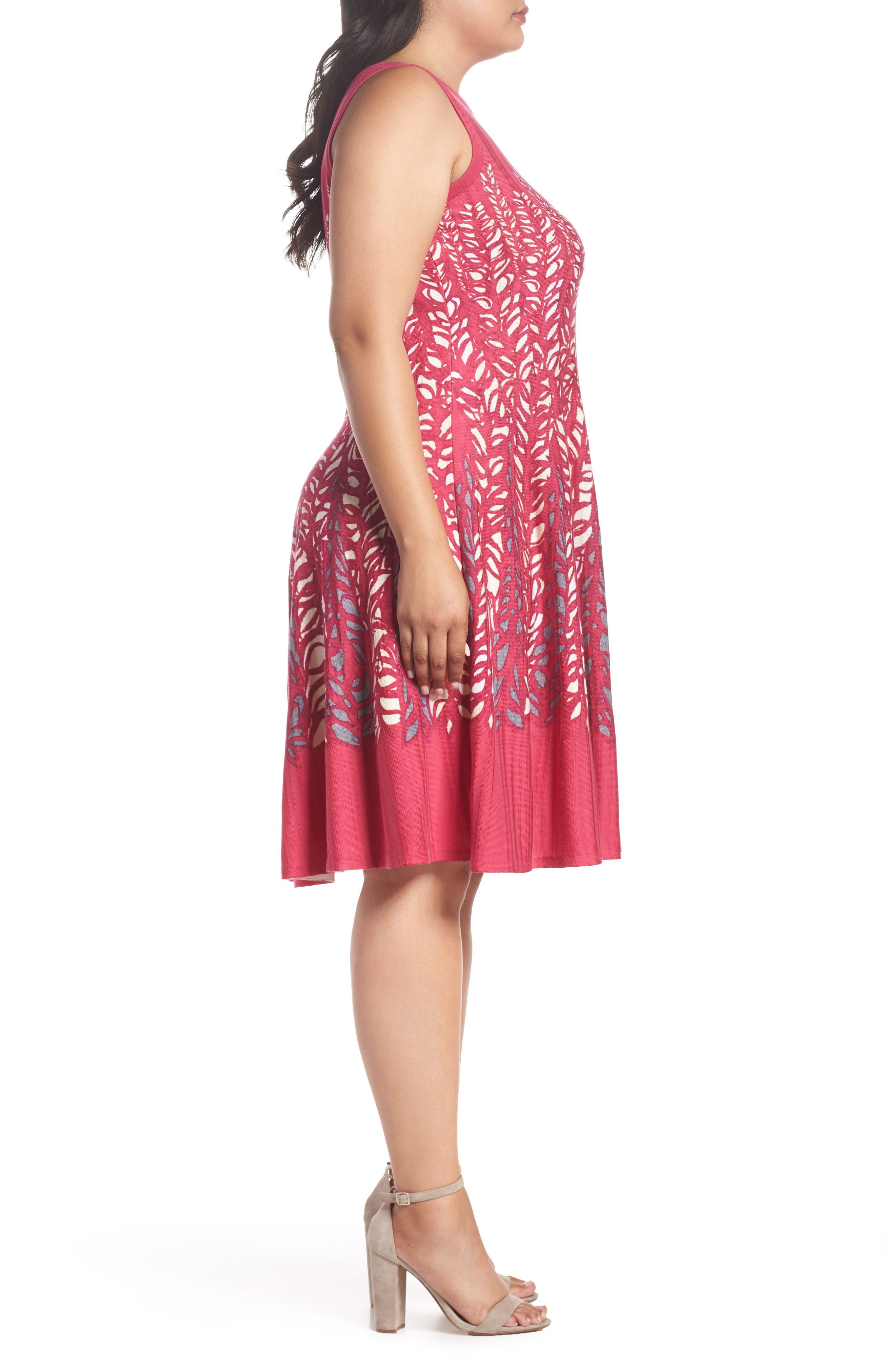Tango Twirl Fit & Flare Knit Dress,                             Alternate thumbnail 3, color,                             Multi