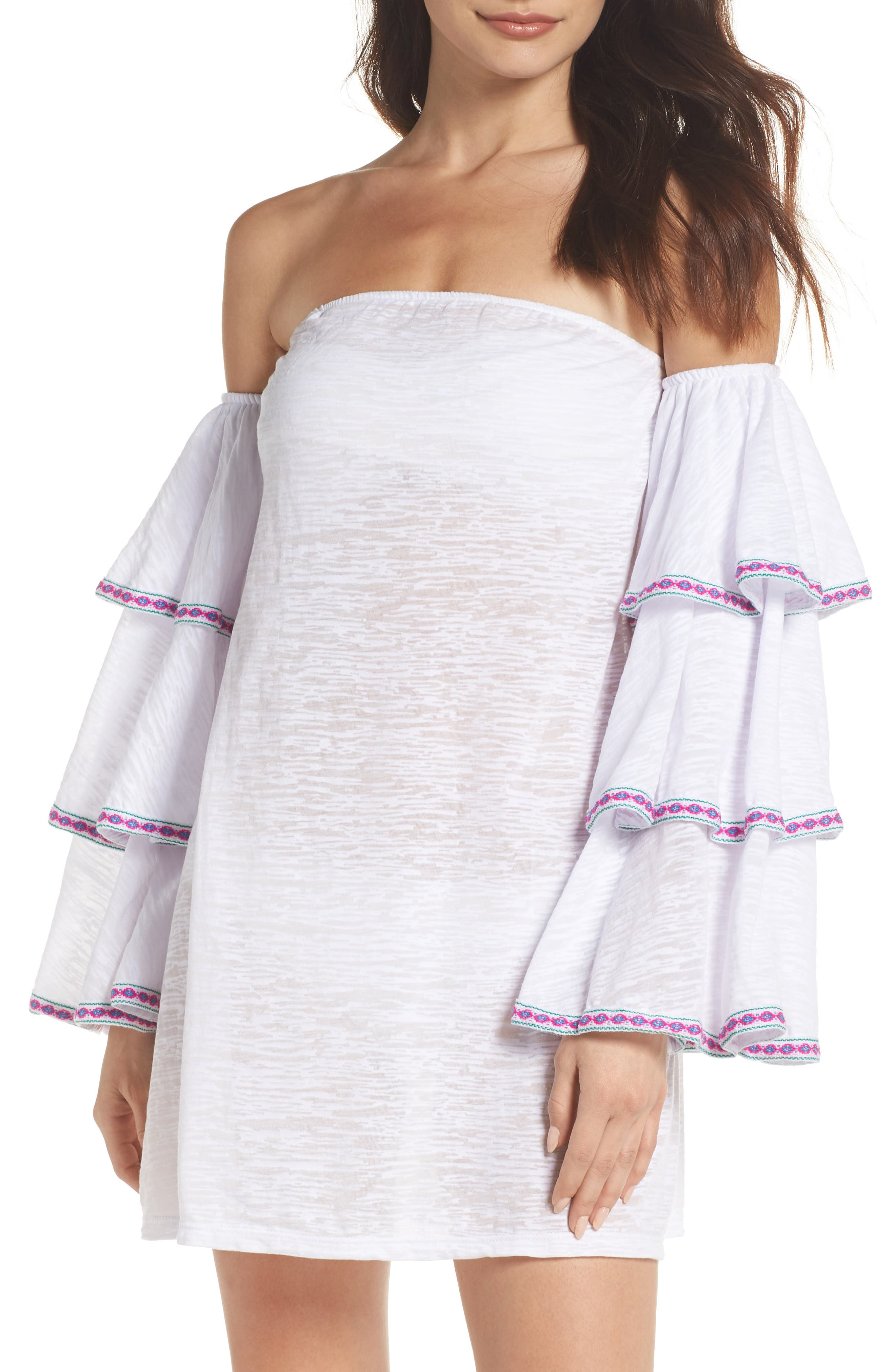 Off the Shoulder Cover-Up Dress,                             Main thumbnail 1, color,                             White