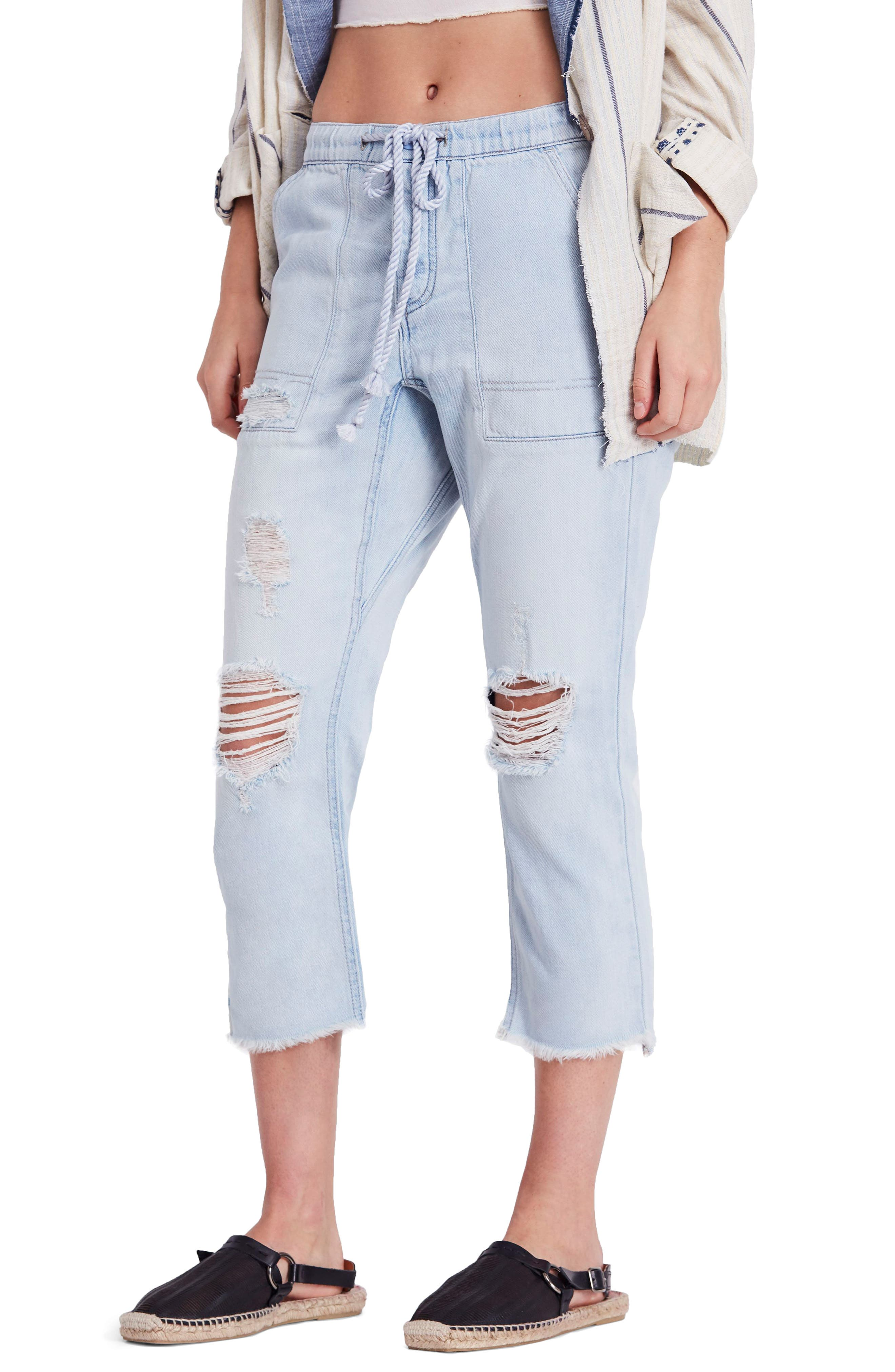 Northern Sky Ripped Crop Jeans,                             Main thumbnail 1, color,                             Blue