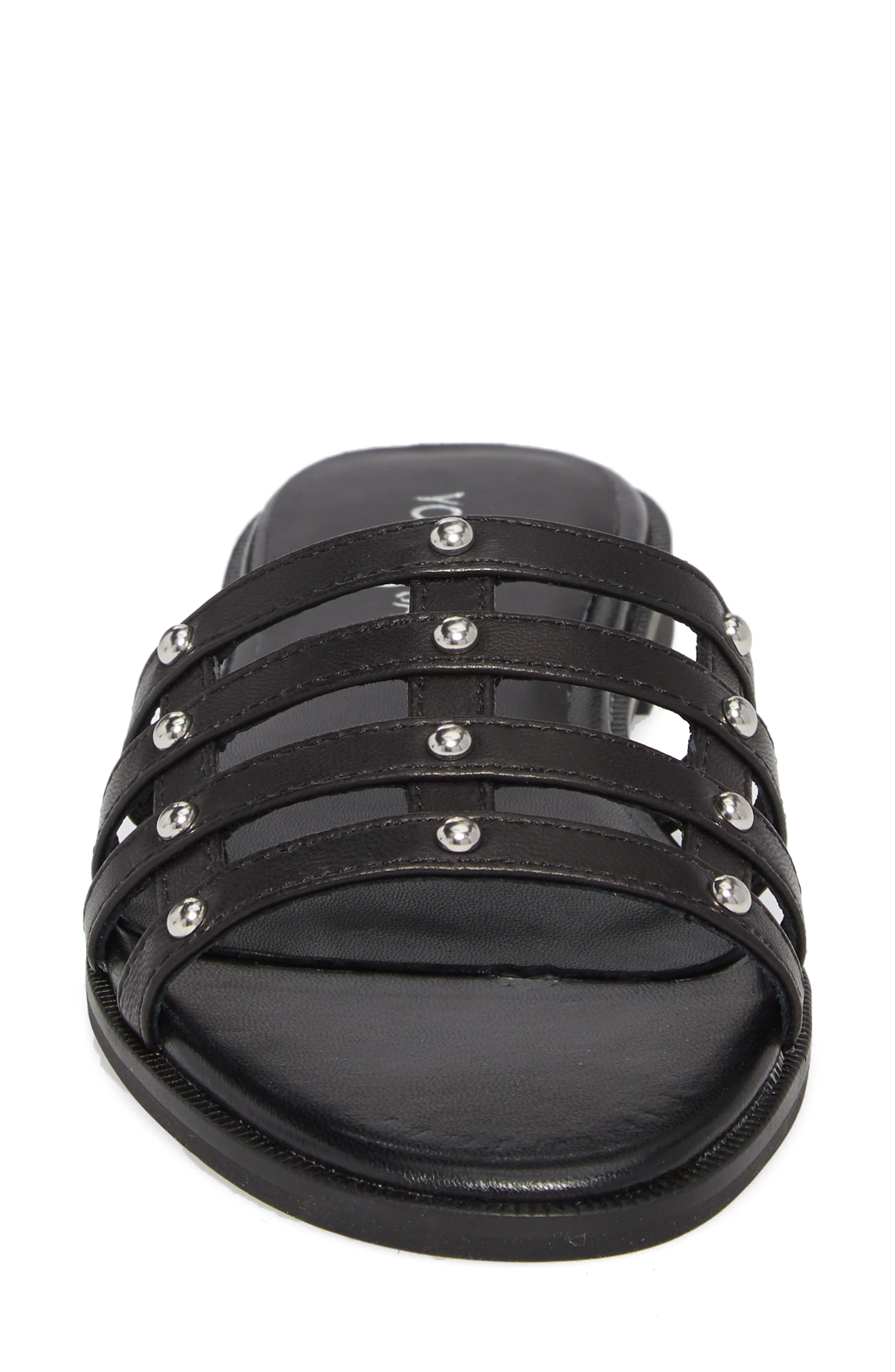 Cara Slide Sandal,                             Alternate thumbnail 4, color,                             Black/ Silver Studs