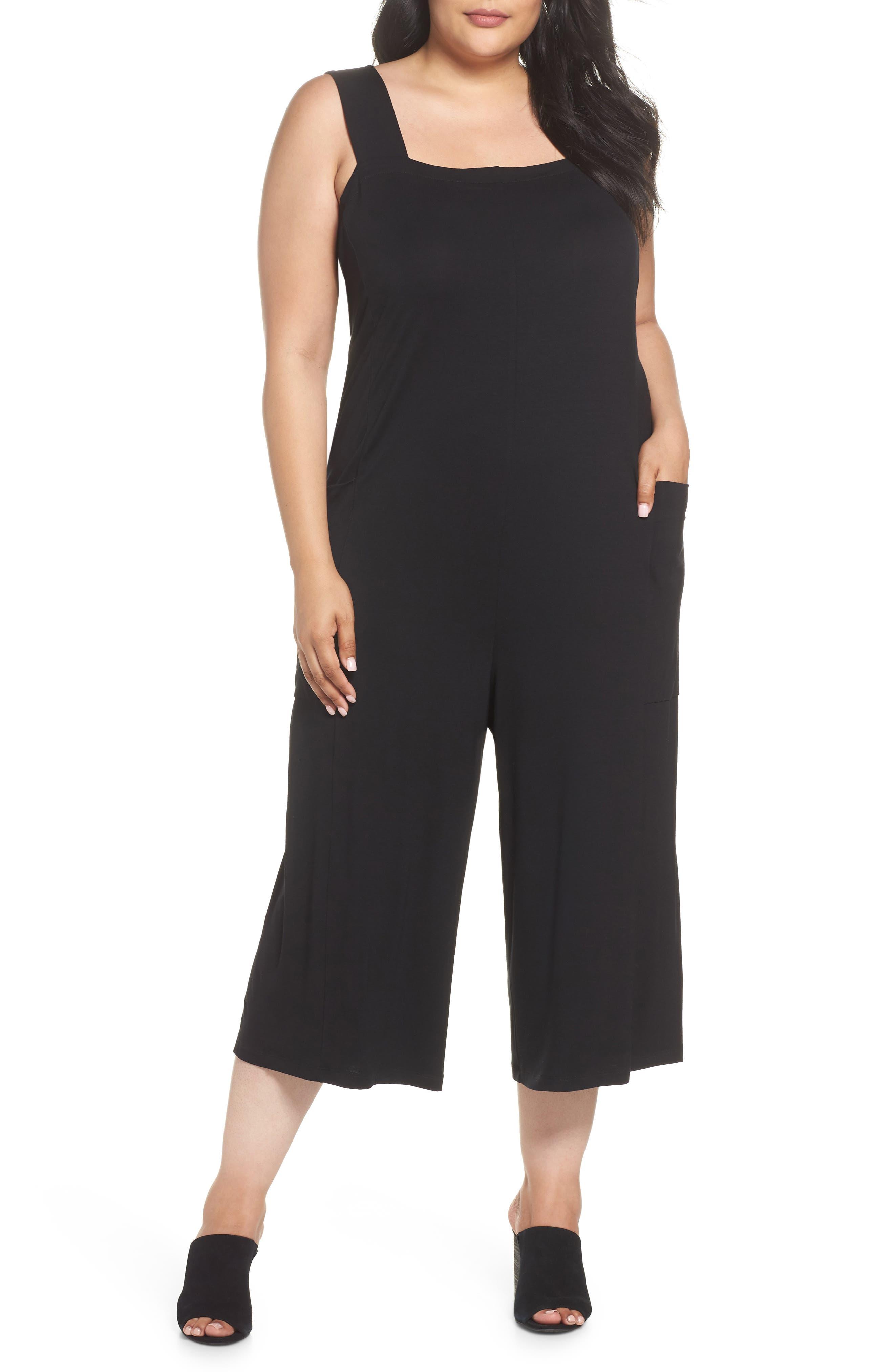 Crop Pinafore Jumpsuit,                         Main,                         color, Black