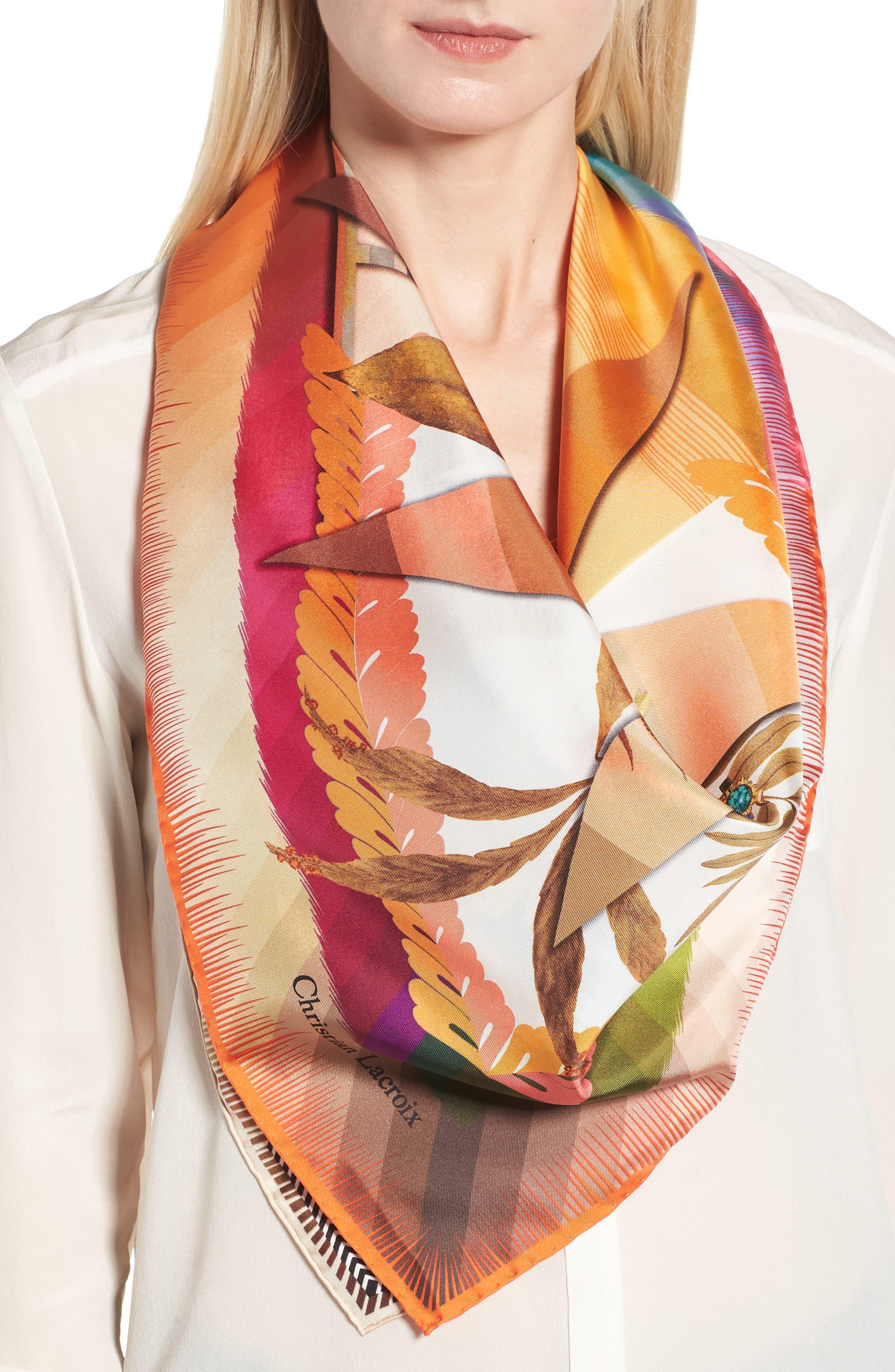Cristian Lacroix Botanic Silk Scarf,                             Alternate thumbnail 2, color,                             Yellow