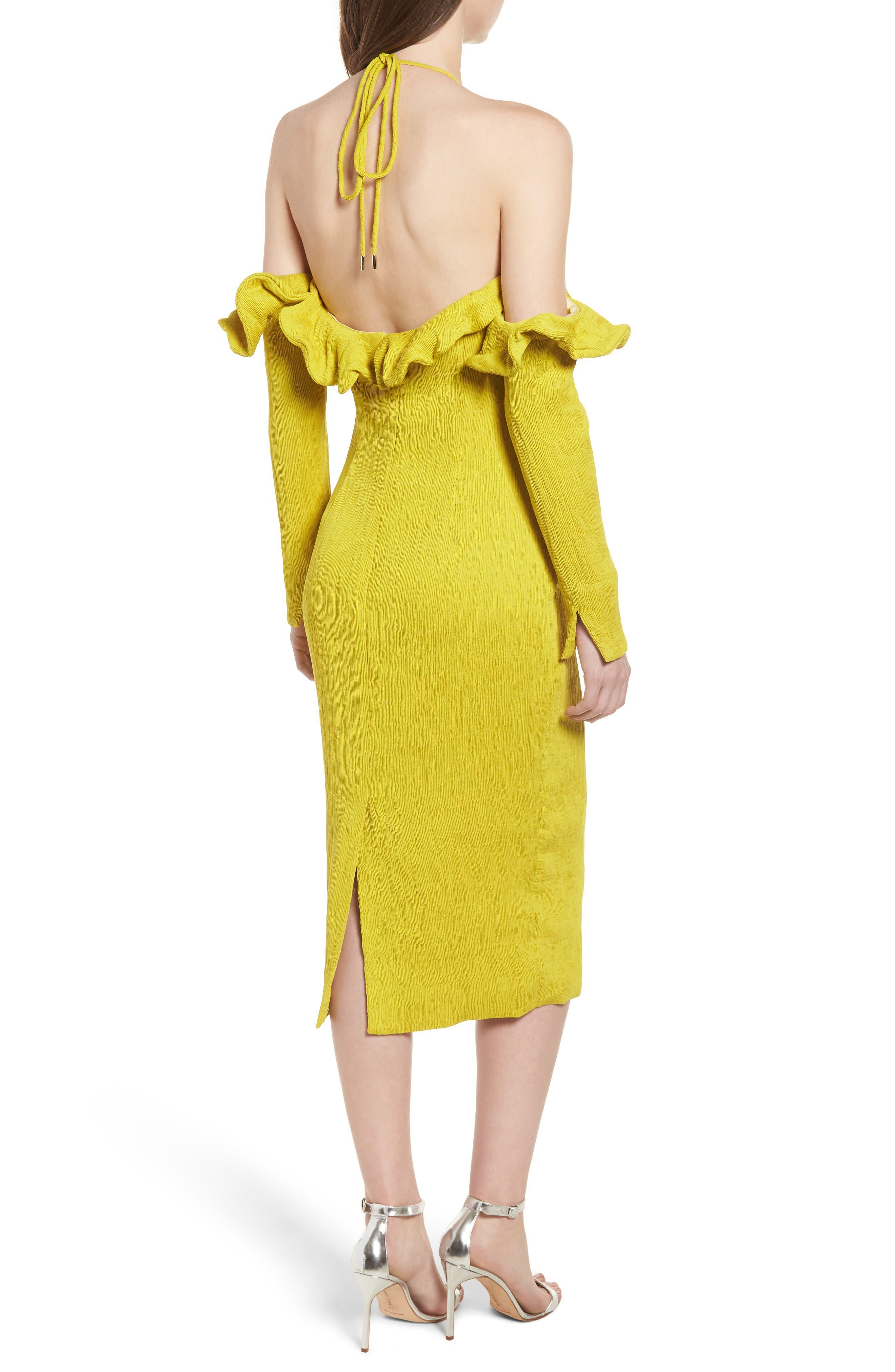 Avon Cold Shoulder Dress,                             Alternate thumbnail 2, color,                             Chartreuse
