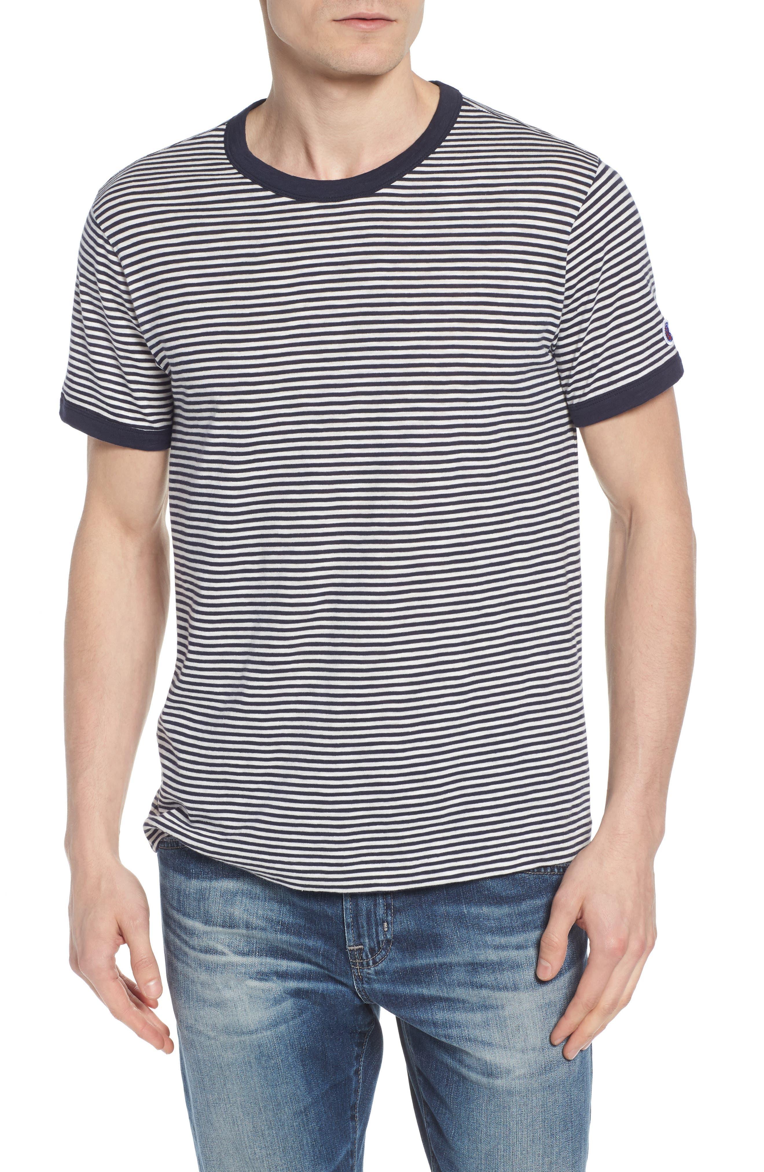 + Champion Stripe T-Shirt,                             Main thumbnail 1, color,                             Navy