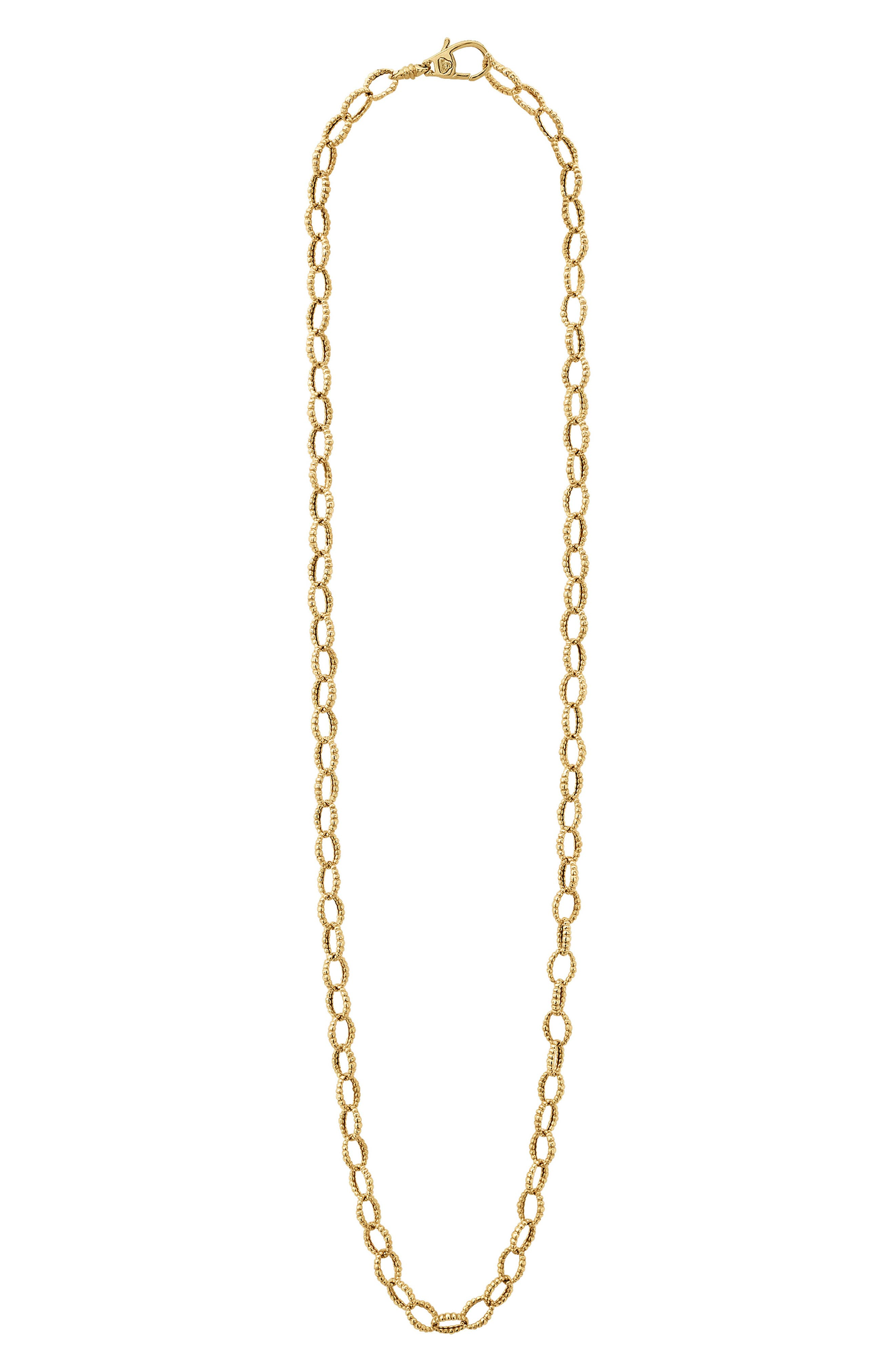 Caviar Gold Fluted Oval Link Necklace,                         Main,                         color, Gold