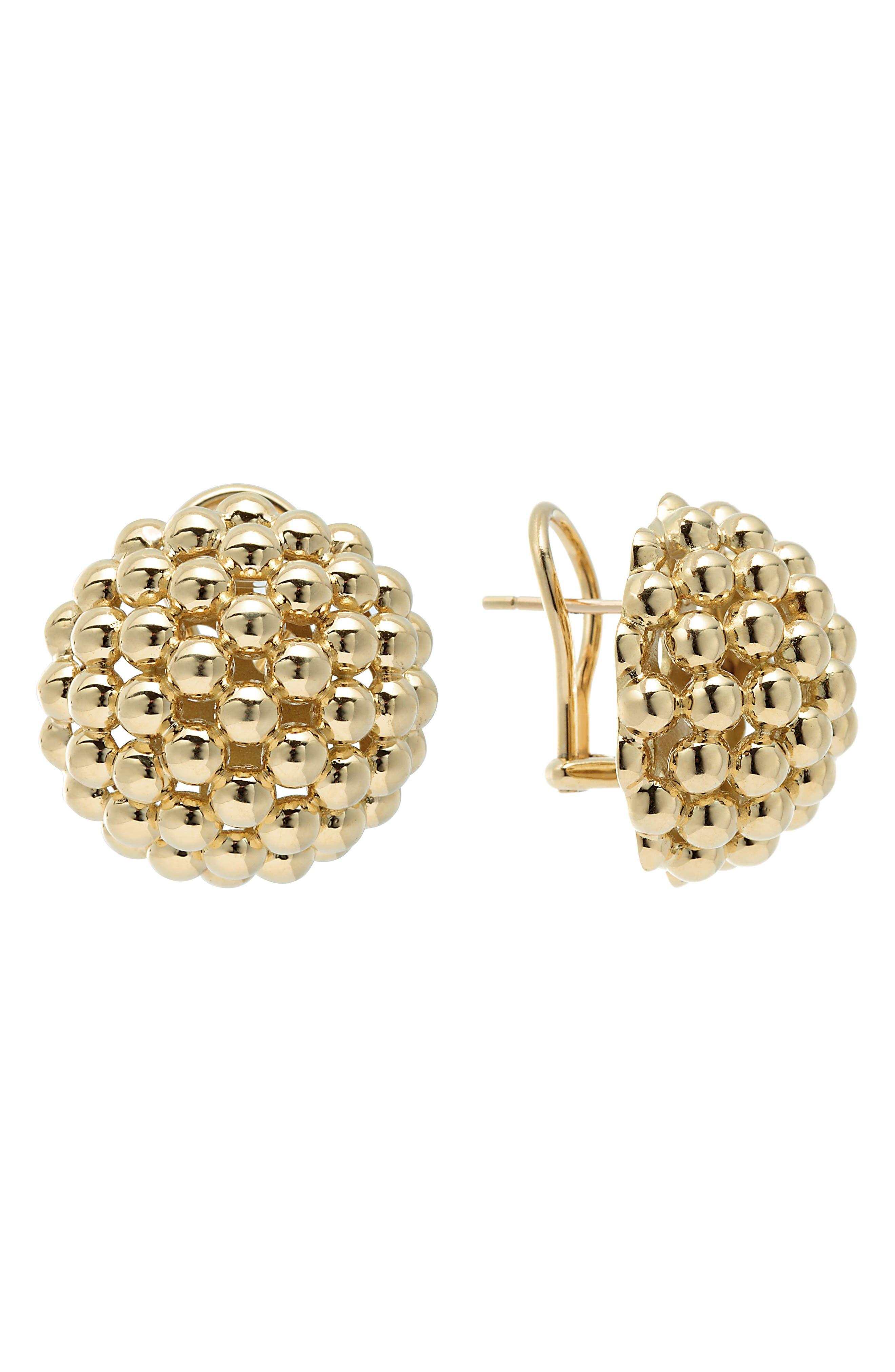 Caviar Gold Dome Omega Earrings,                             Main thumbnail 1, color,                             Gold