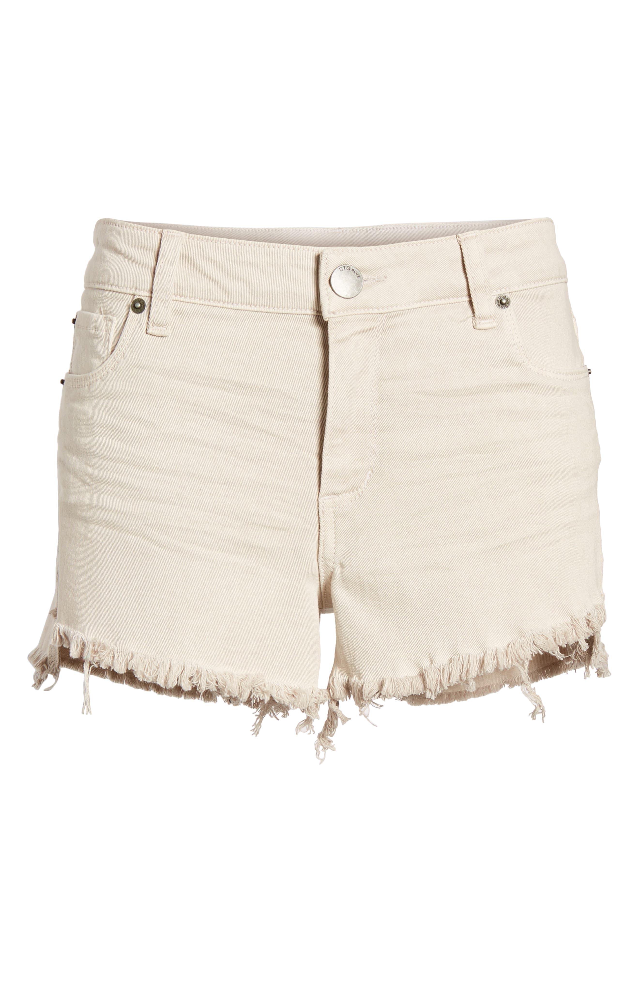 Step Hem Denim Shorts,                             Alternate thumbnail 7, color,                             Dove