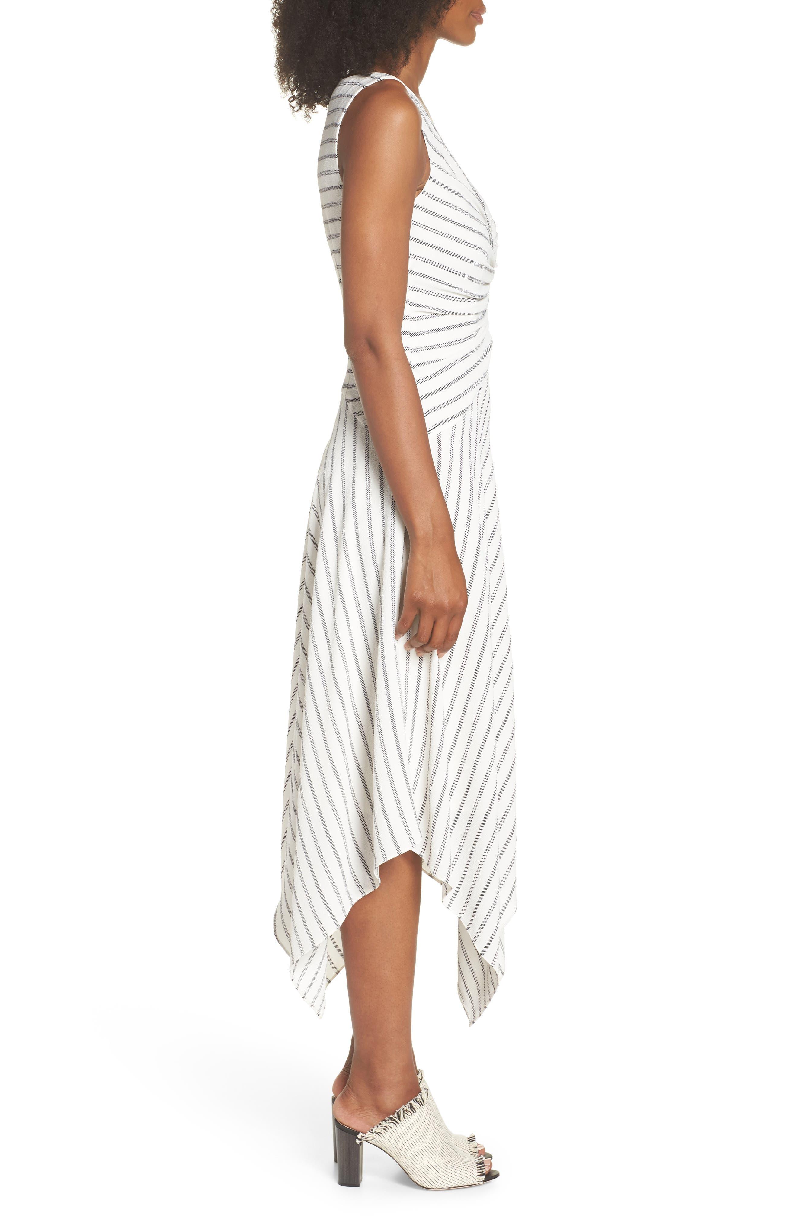Stripe Ruched Handkerchief Hem Dress,                             Alternate thumbnail 3, color,                             Soft White/ Black