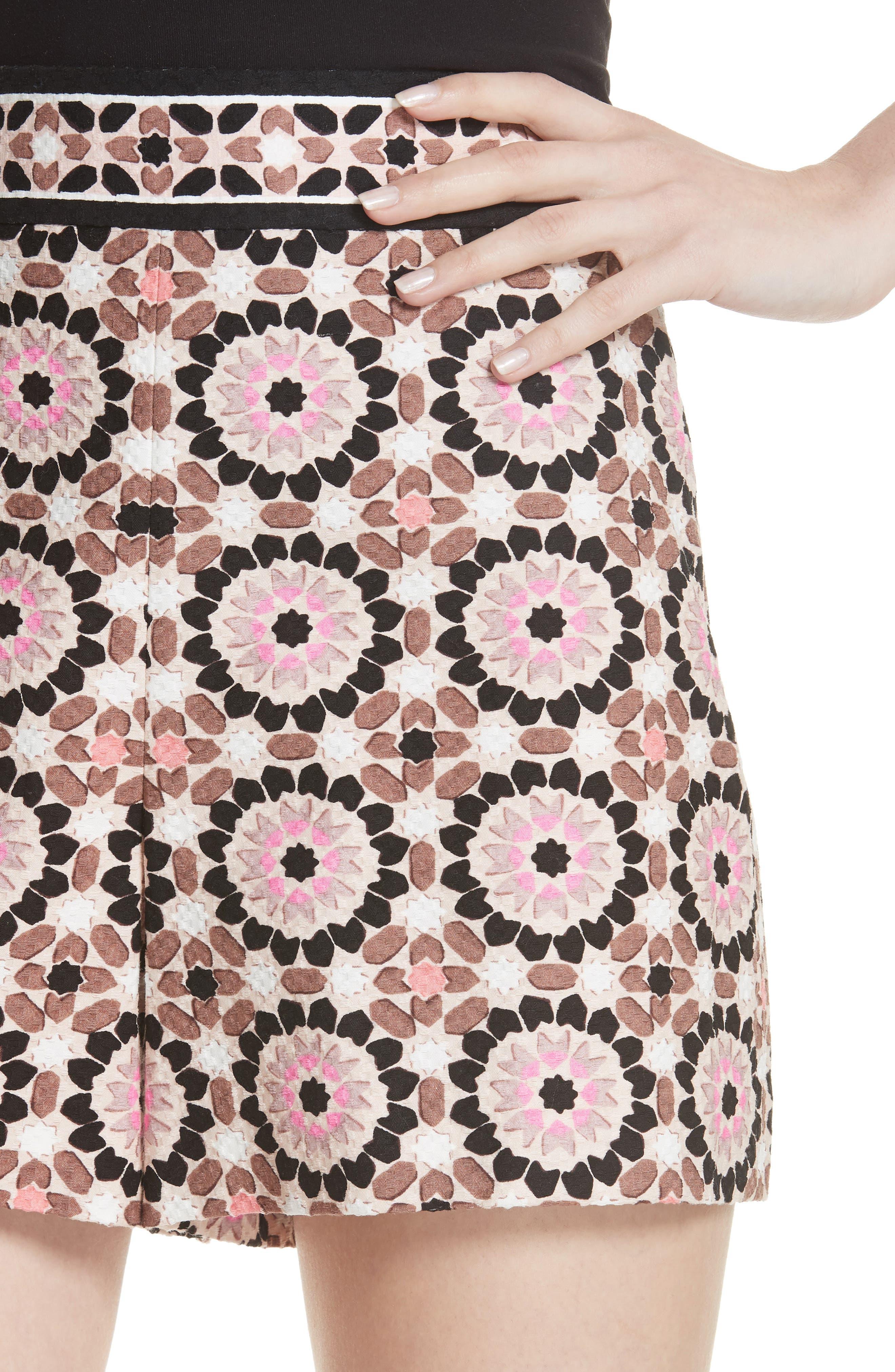 floral mosaic jacquard shorts,                             Alternate thumbnail 4, color,                             Pearl Pink Multi