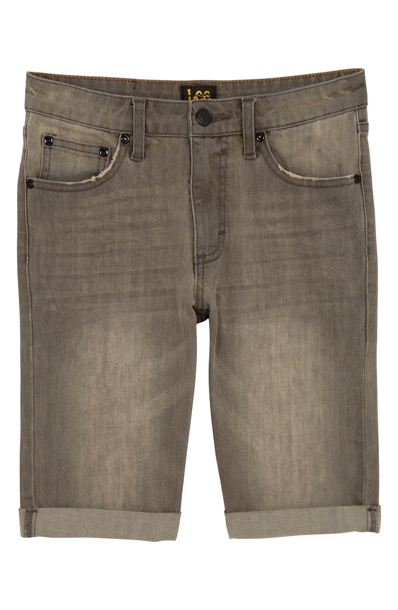 Straight Leg Cuffed Denim Shorts,                         Main,                         color, Wrecked Boat Grey