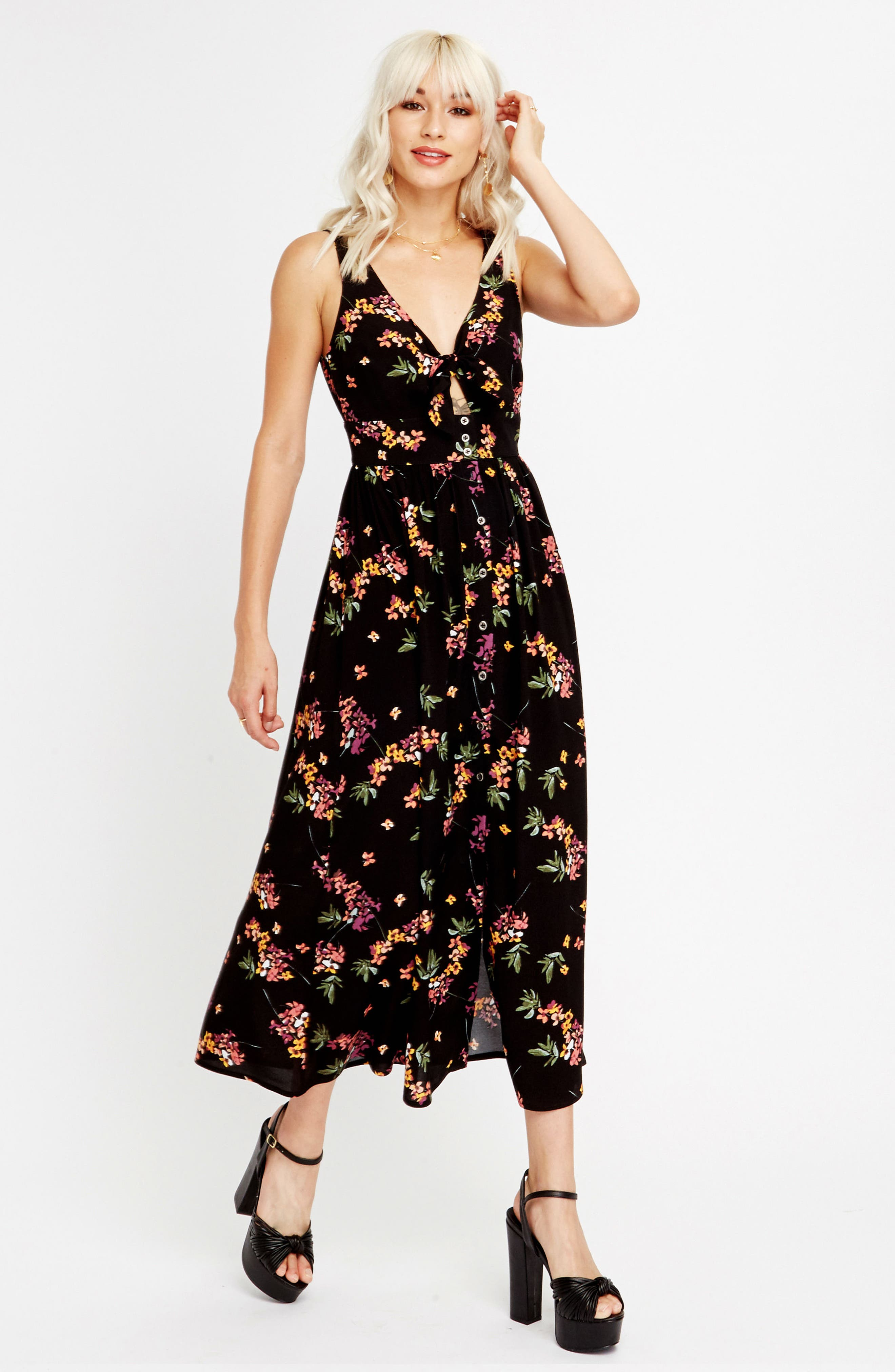 Floral Midi Dress,                             Alternate thumbnail 2, color,                             Black Floral