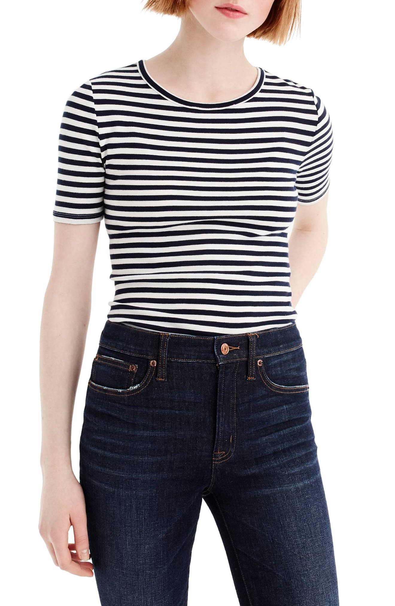J.Crew New Perfect Fit T-Shirt,                         Main,                         color, Navy/ Ivory
