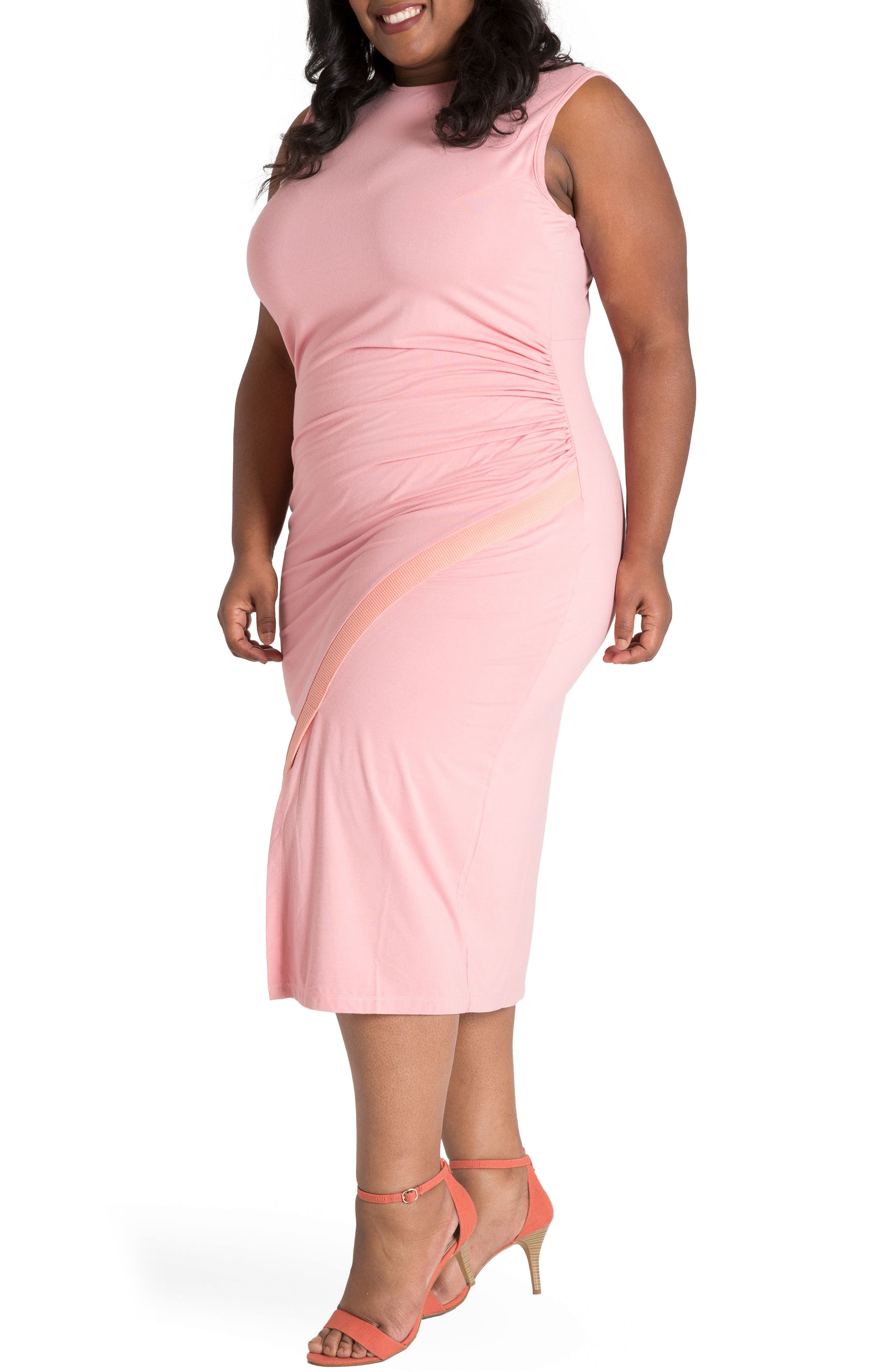 Brianna Jersey Sheath Midi Dress,                             Alternate thumbnail 3, color,                             Light Pink