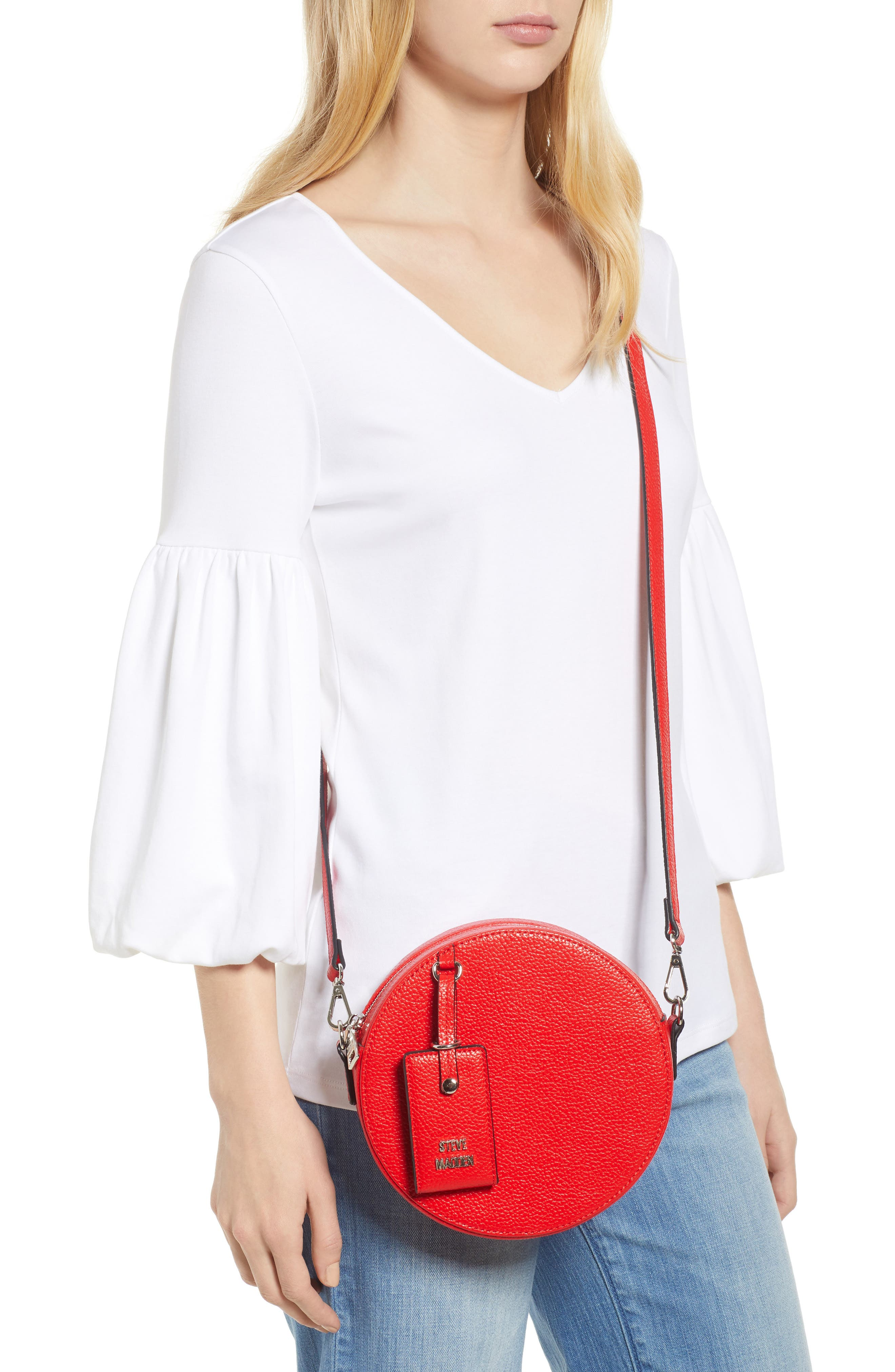 Pebbled Faux Leather Canteen Bag,                             Alternate thumbnail 2, color,                             Red