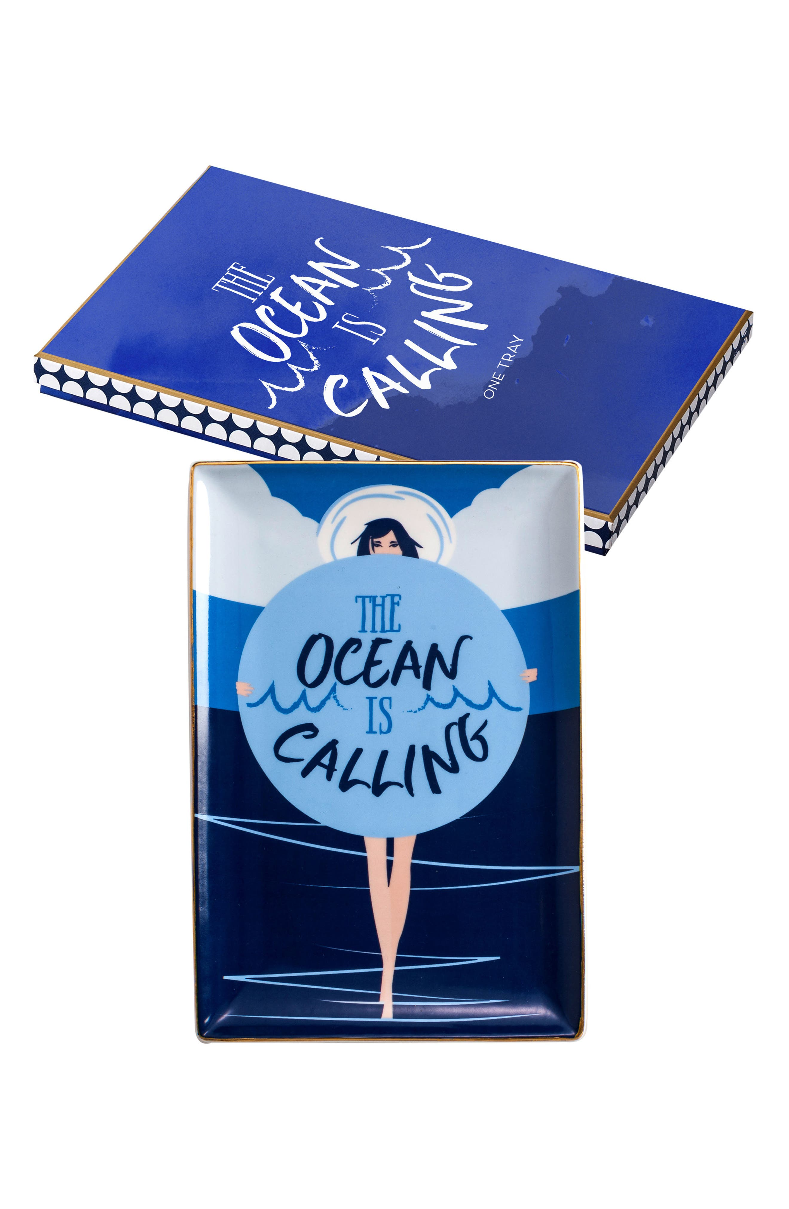 The Ocean Is Calling Tray,                             Main thumbnail 1, color,                             Blue Multi