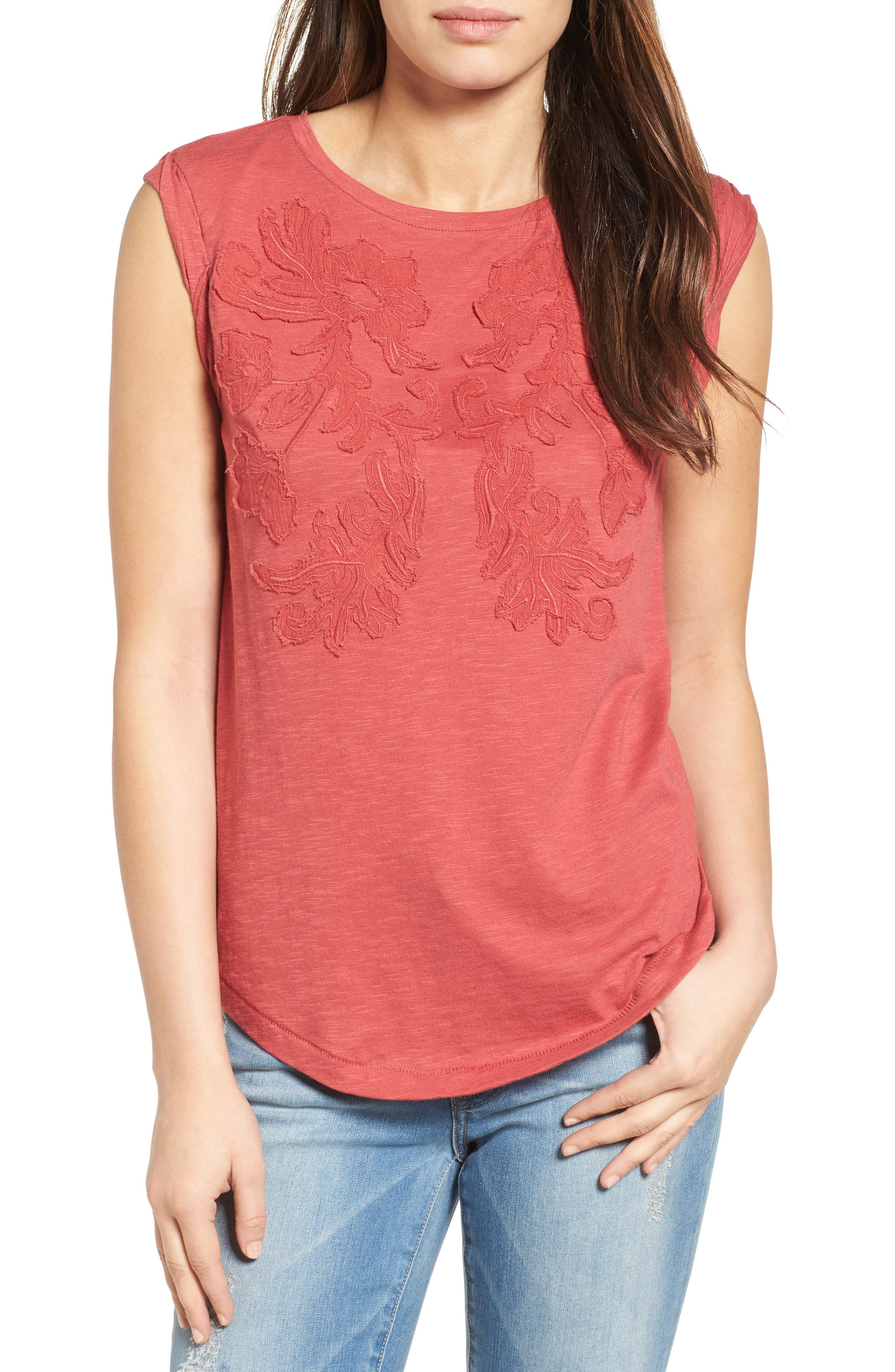 Embroidered Slub Knit Tank,                             Main thumbnail 1, color,                             Red Earth