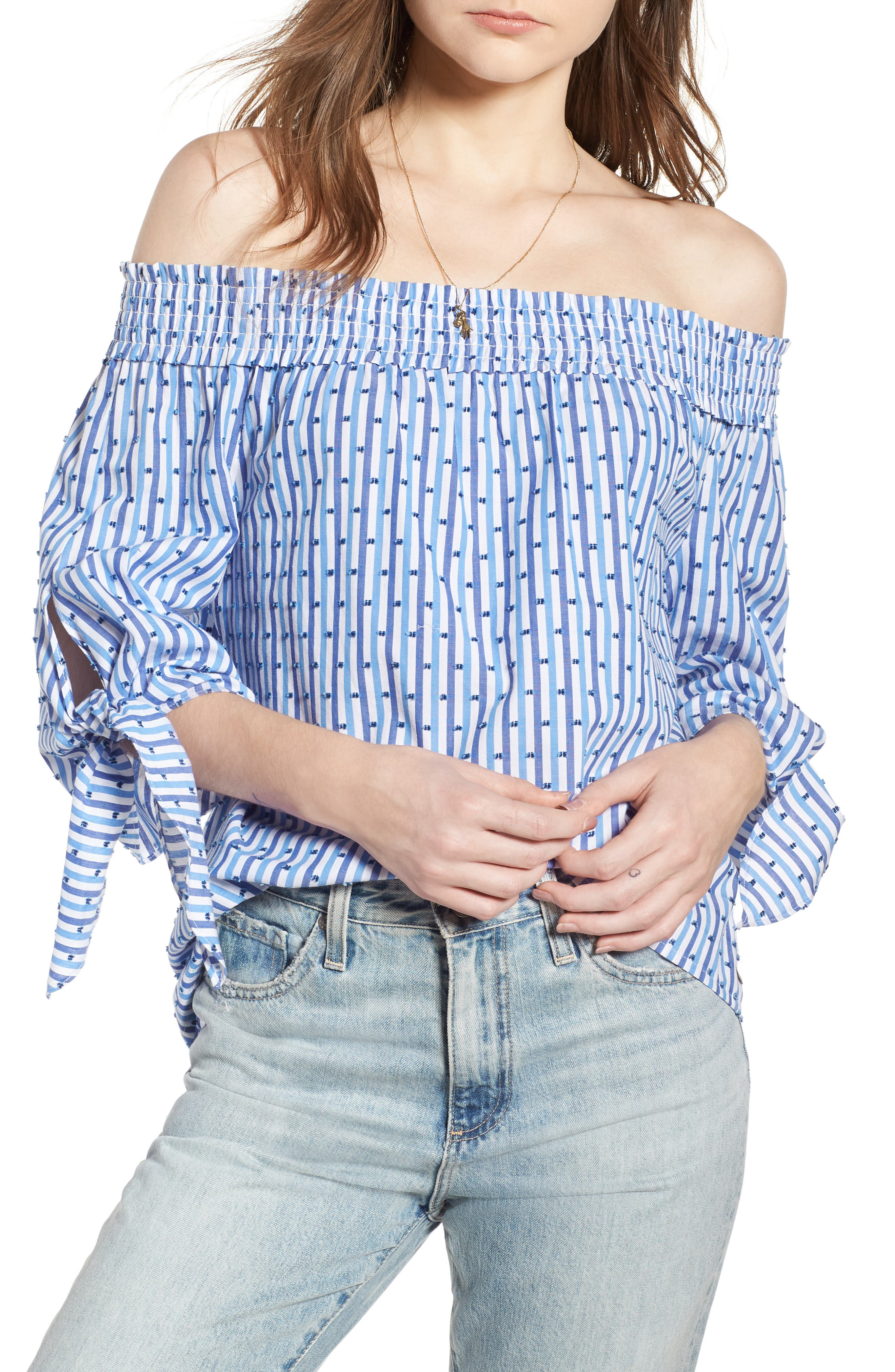 Scotch & Soda Off the Shoulder Tie Sleeve Top