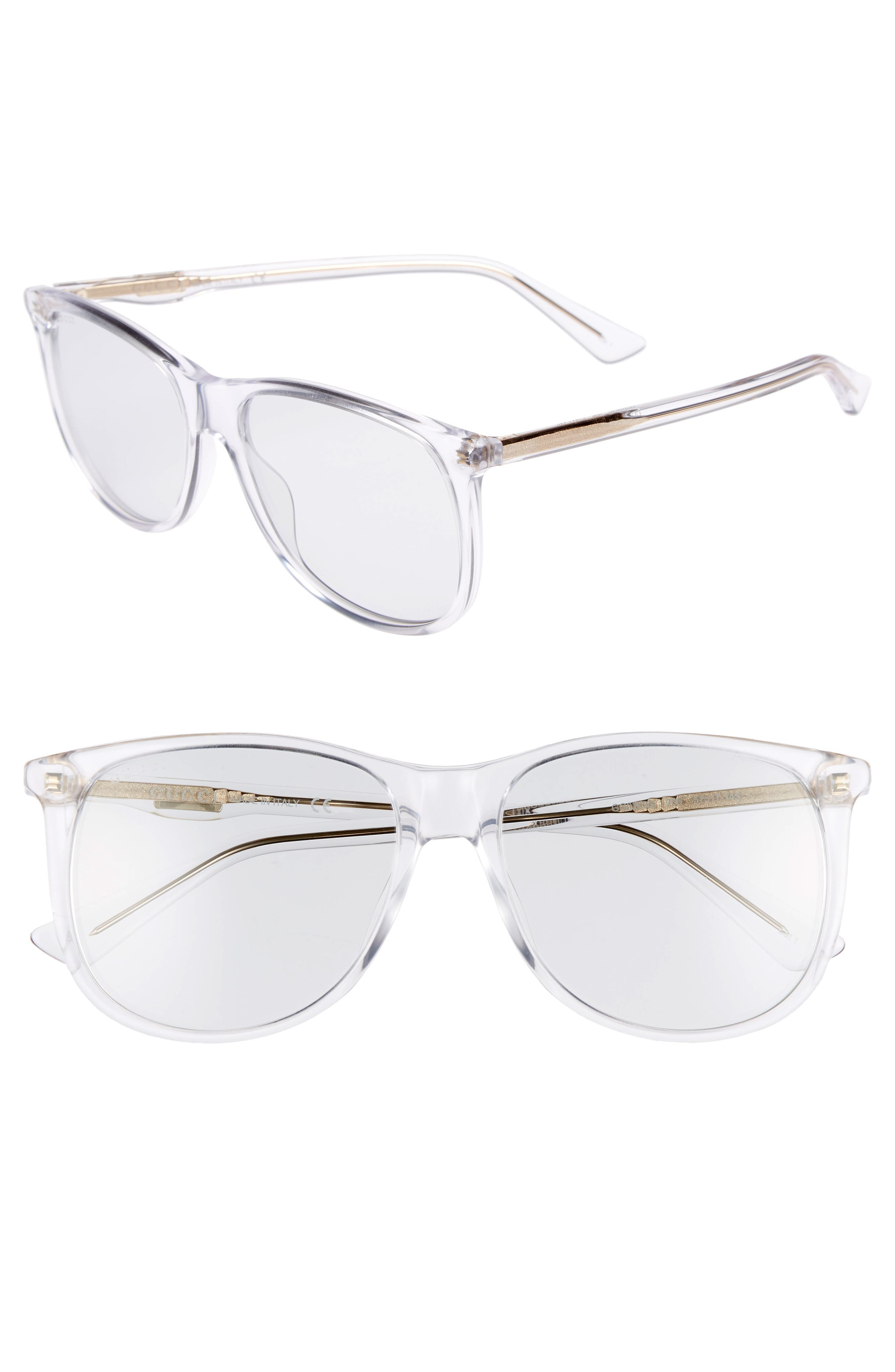 80s 56mm Sunglasses,                         Main,                         color, Crystal