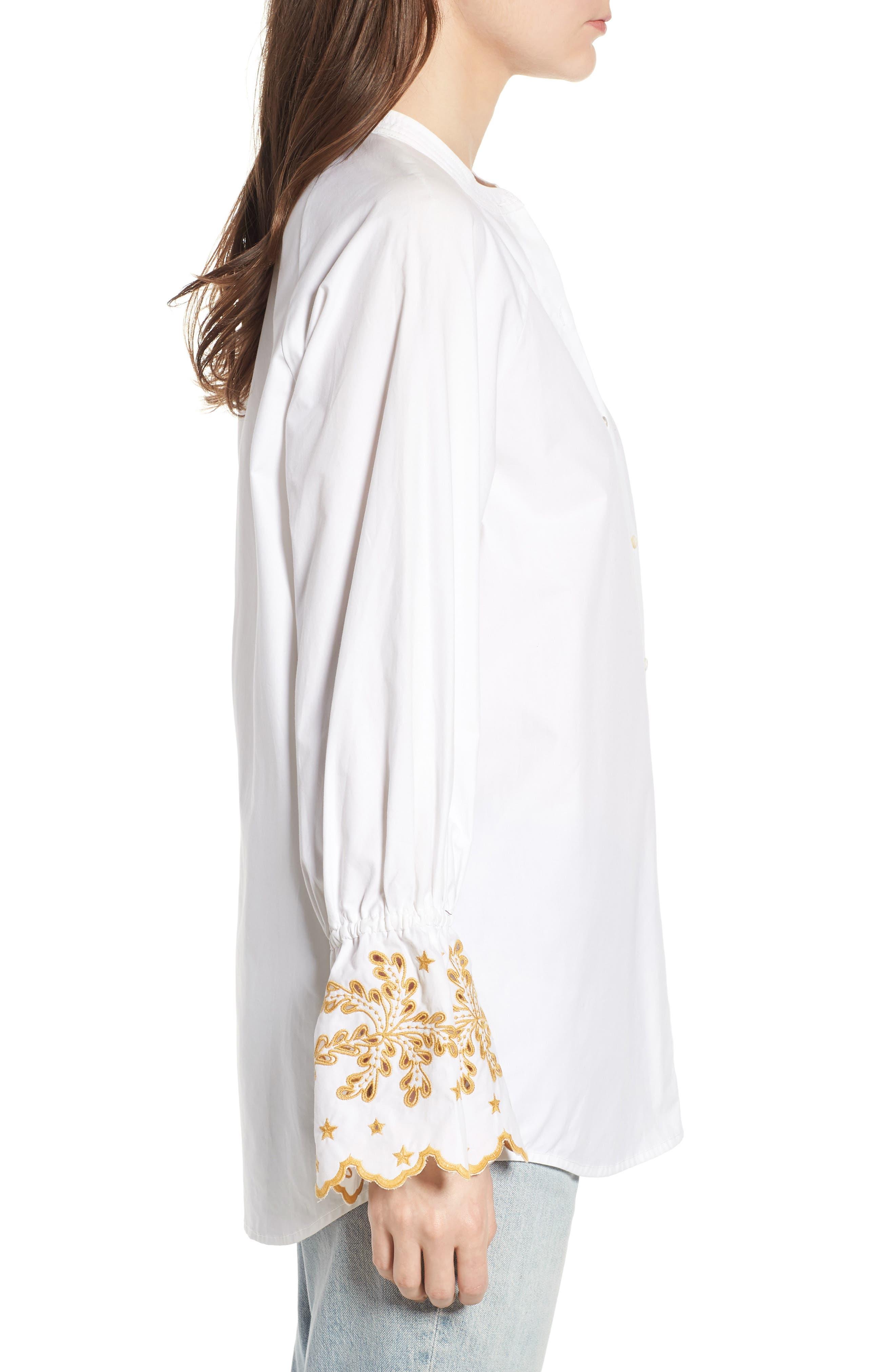 Oversize Button Front Shirt,                             Alternate thumbnail 3, color,                             Color 06 White